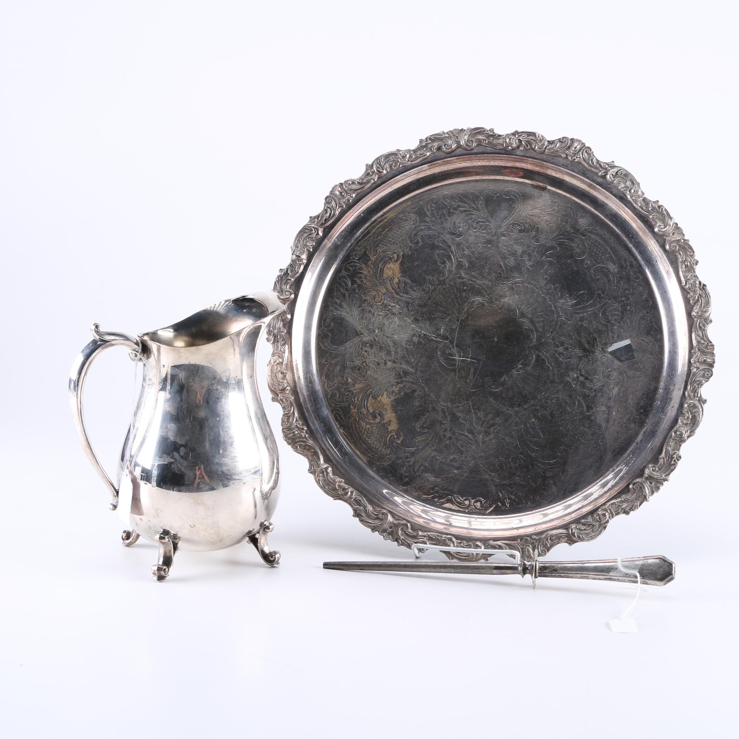 Silver Plate Tableware and Sterling Silver Handled Honing Tool
