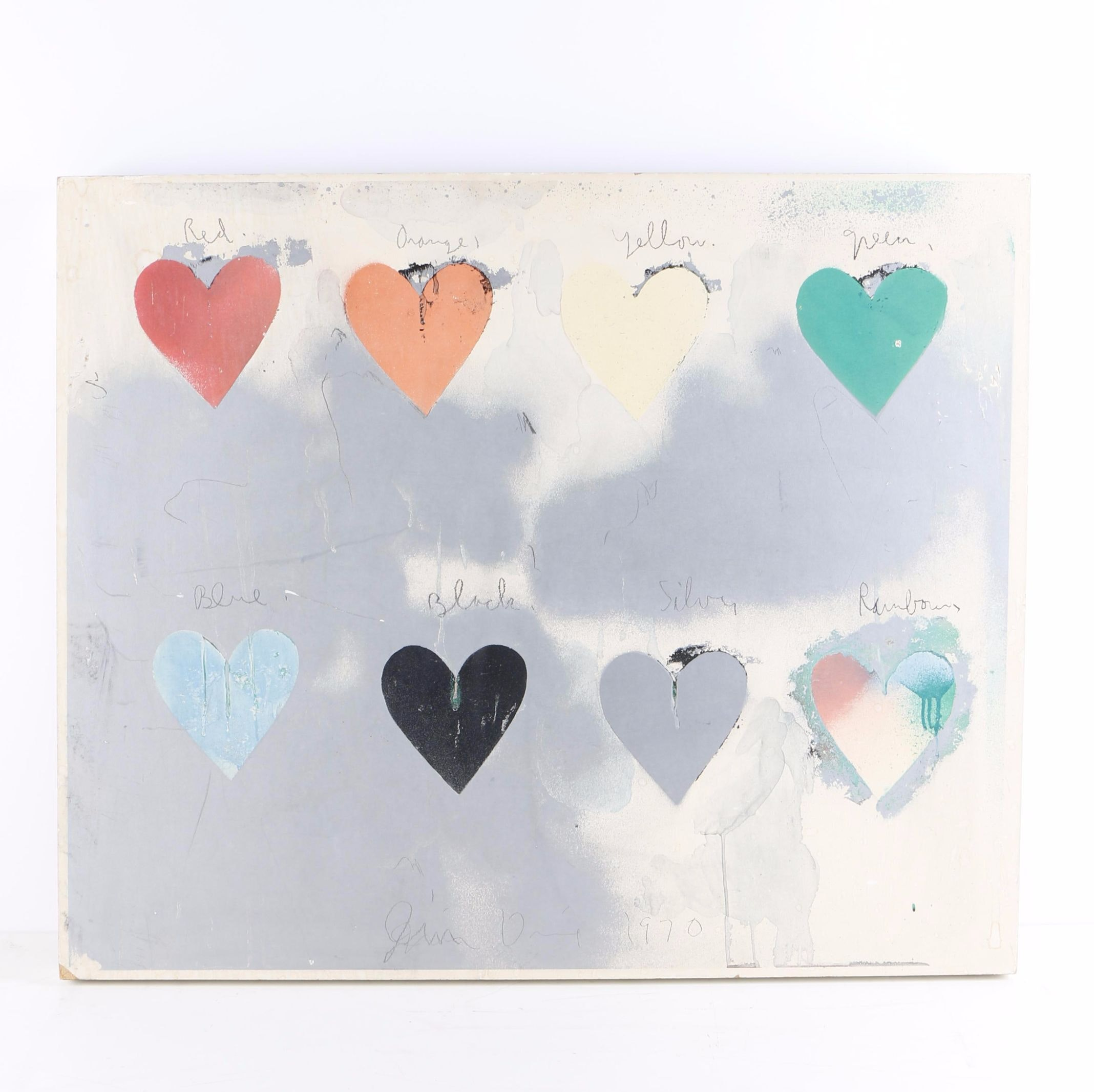 "Giclée on Panel After Jim Dine ""Eight Hearts"""