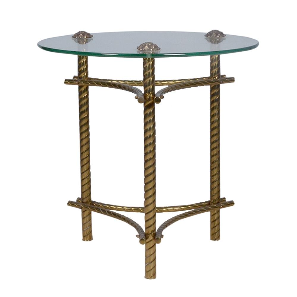 Vintage Glass & Brass side table