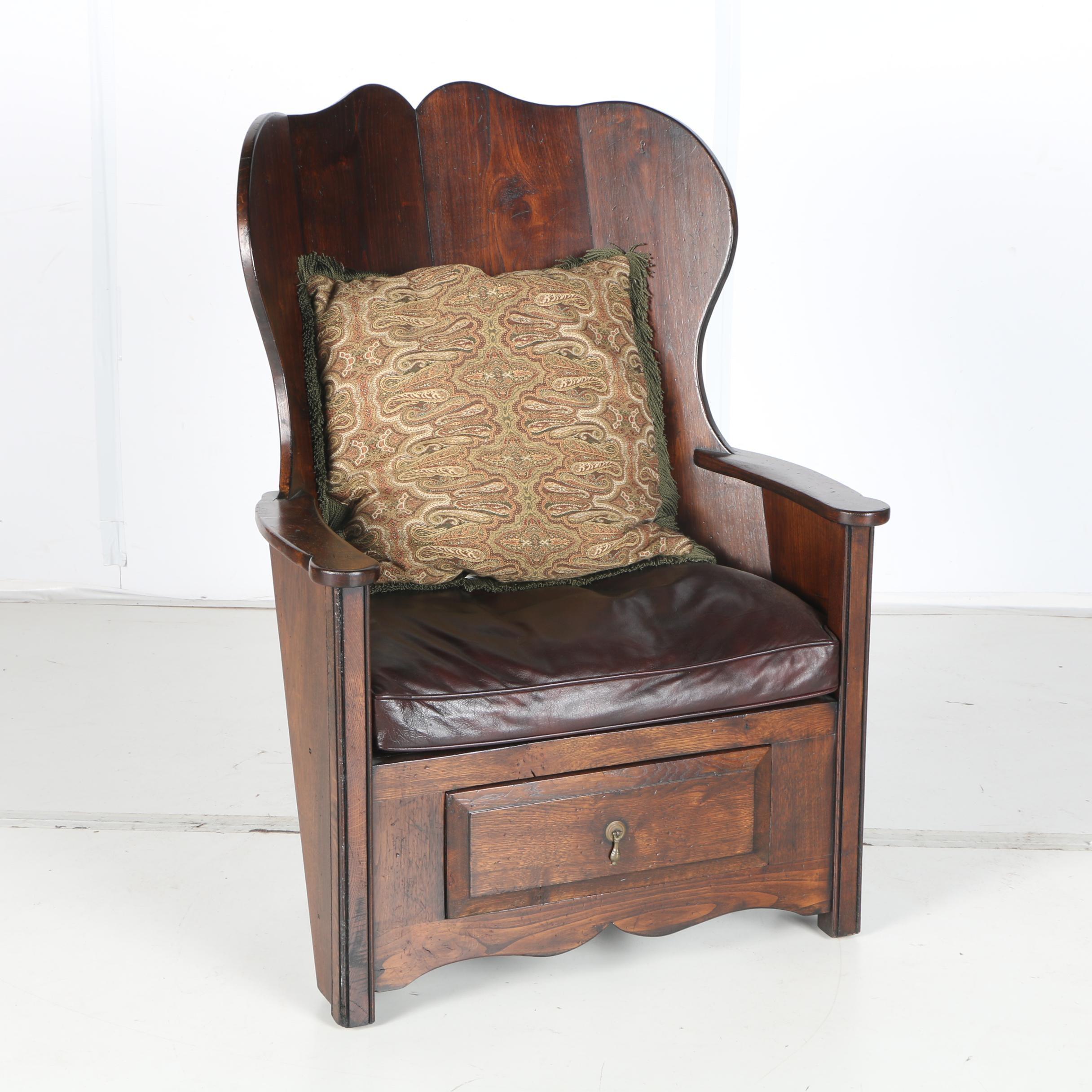 Vintage Walnut Corner Armchair with Storage