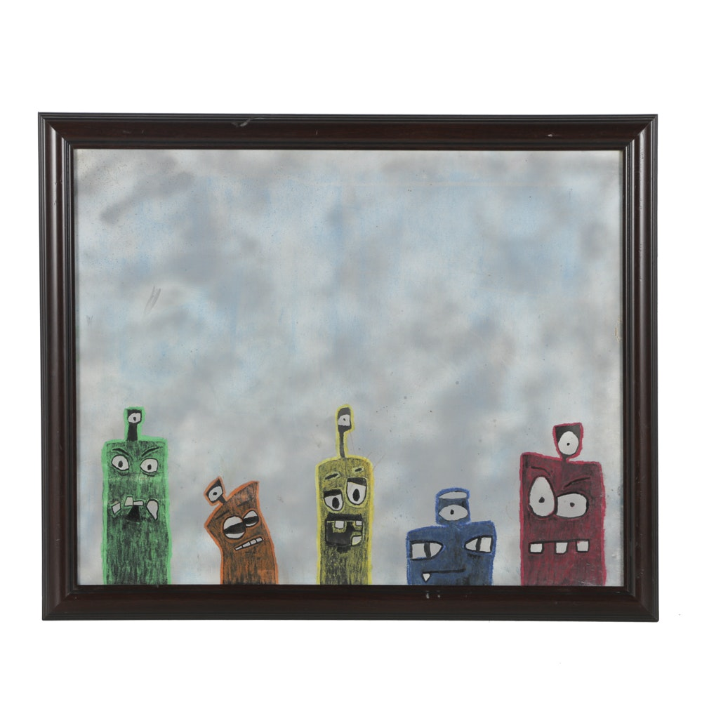 Mixed Media on Canvas Abstract Figures