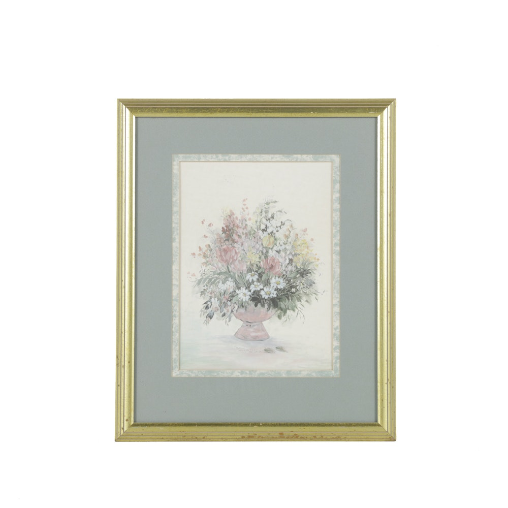 Mary Bertrand Limited Edition Offset Lithograph on Paper Floral