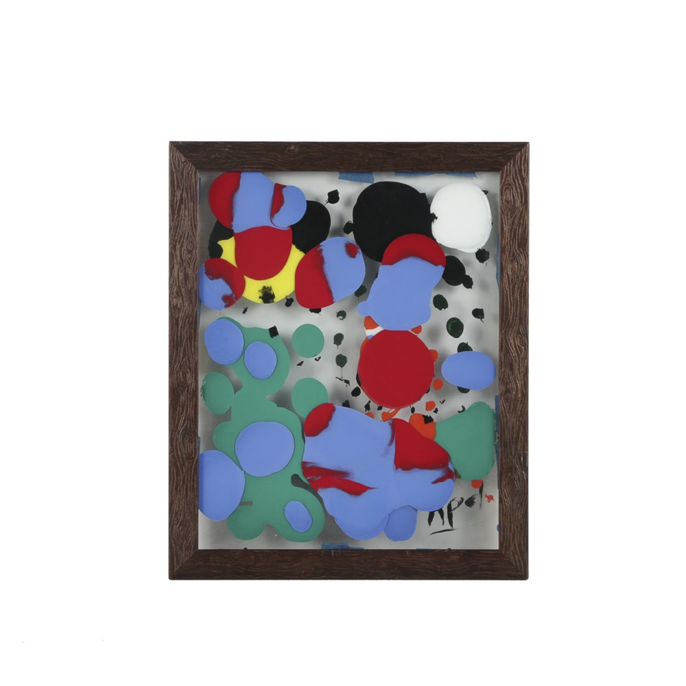 Attributed to Karel Appel Abstract Oil Painting Between Glass