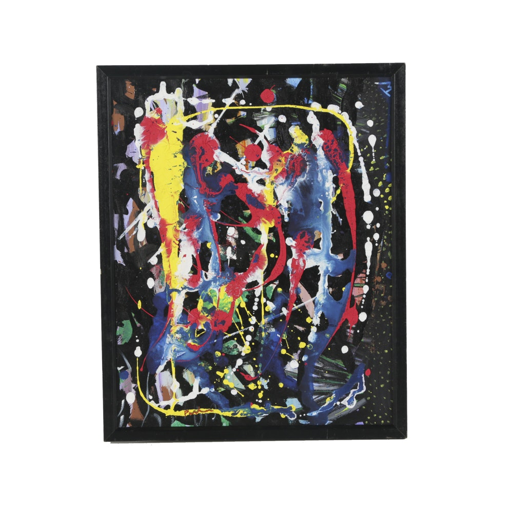 Mixed Media Painting on Canvas of Abstract Scene