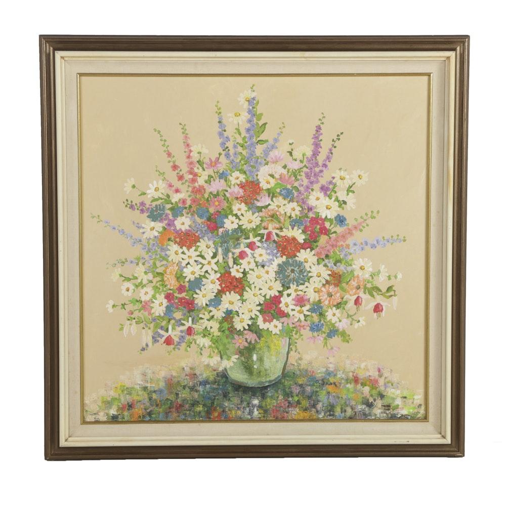 D. Saar Oil Painting on Canvas Floral Still Life