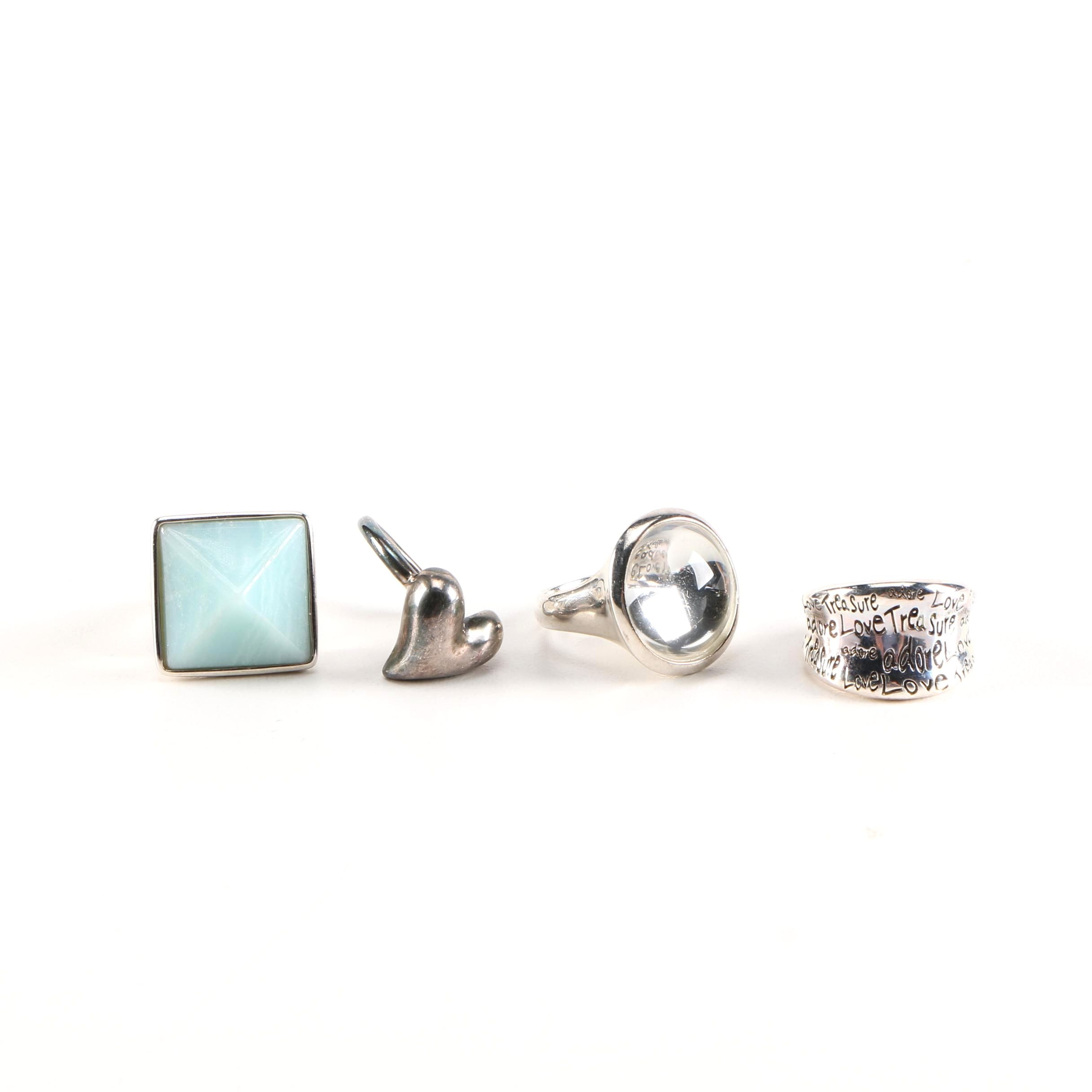 Robert Lee Morris Sterling Rings With Amazonite and Quartz