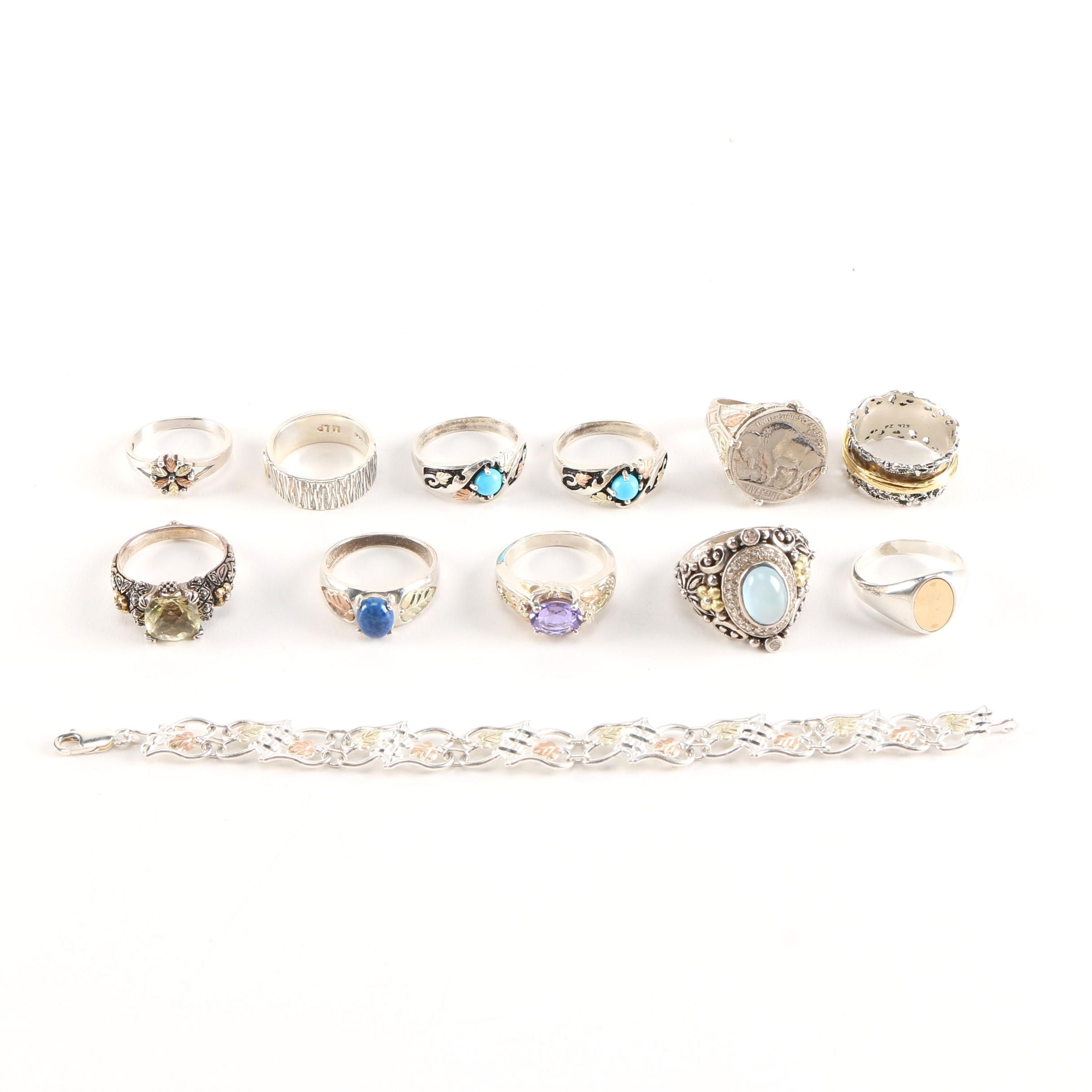 Sterling Silver Rings and Bracelet Featuring Paz and Bixby