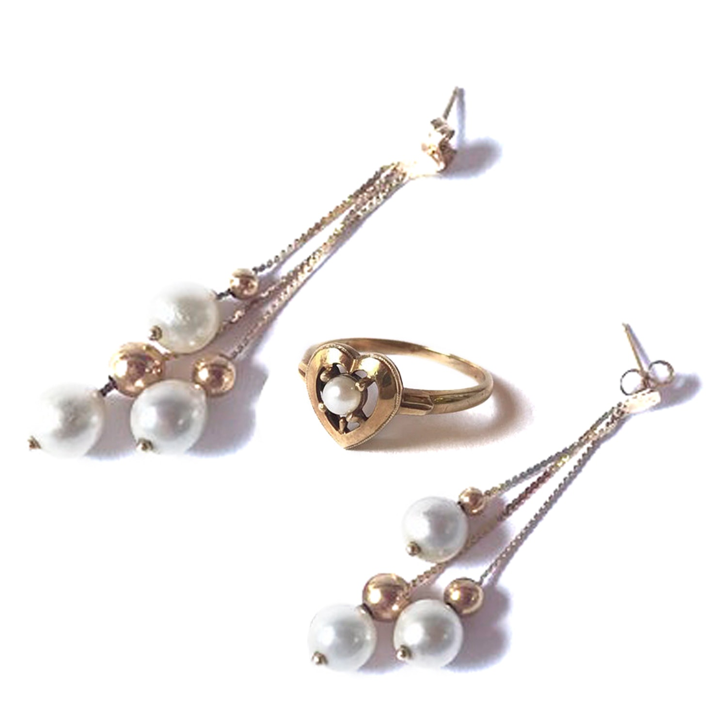 10K Yellow Gold and Pearl Jewelry