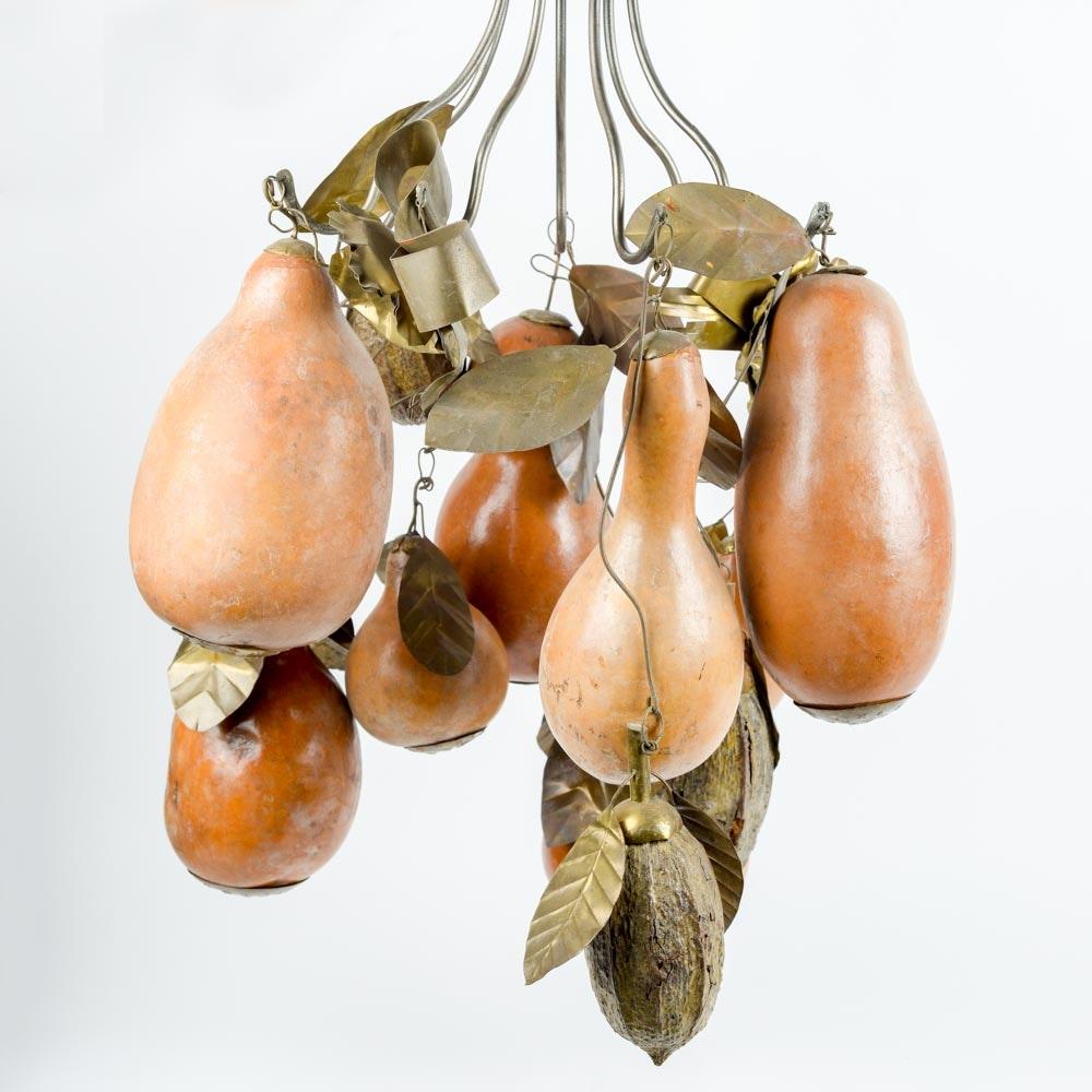 Decorative Brass Gourd and Nut Chandelier