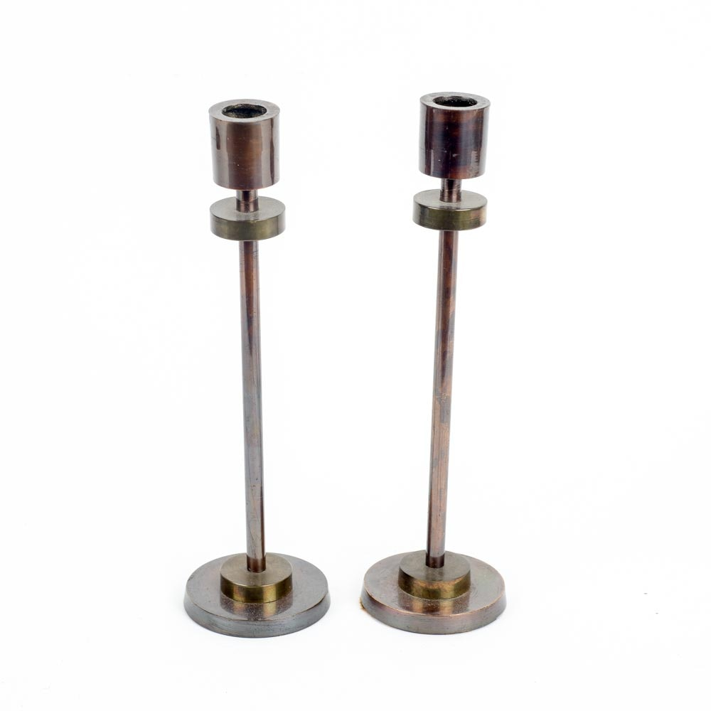 Pair of Mid Century Modern Brass Candle Sticks by Century
