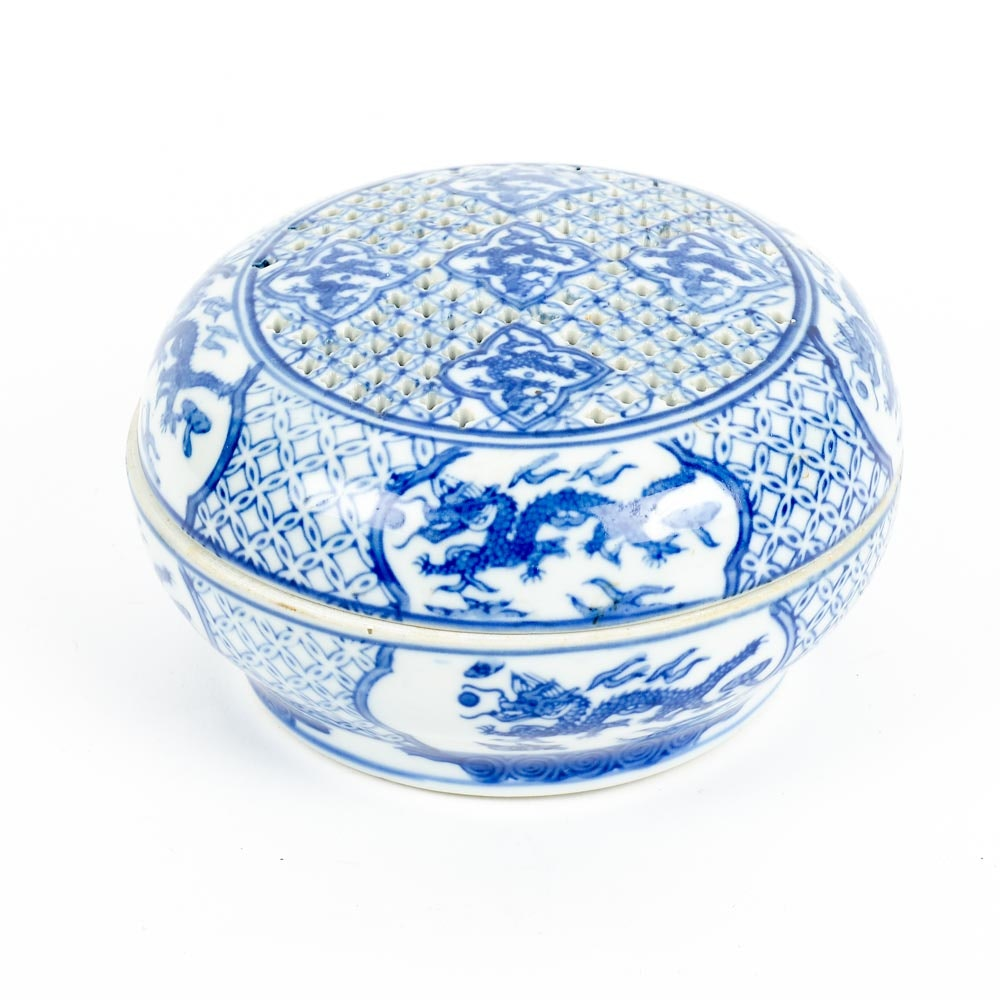 Chinese Blue and White Circular Incense Box