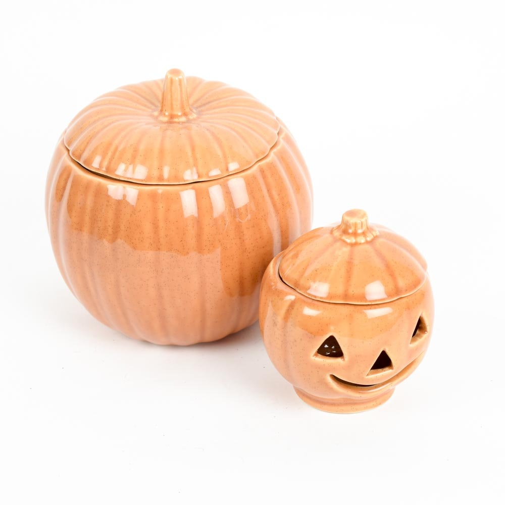 Pair of Western Stoneware Pumpkins