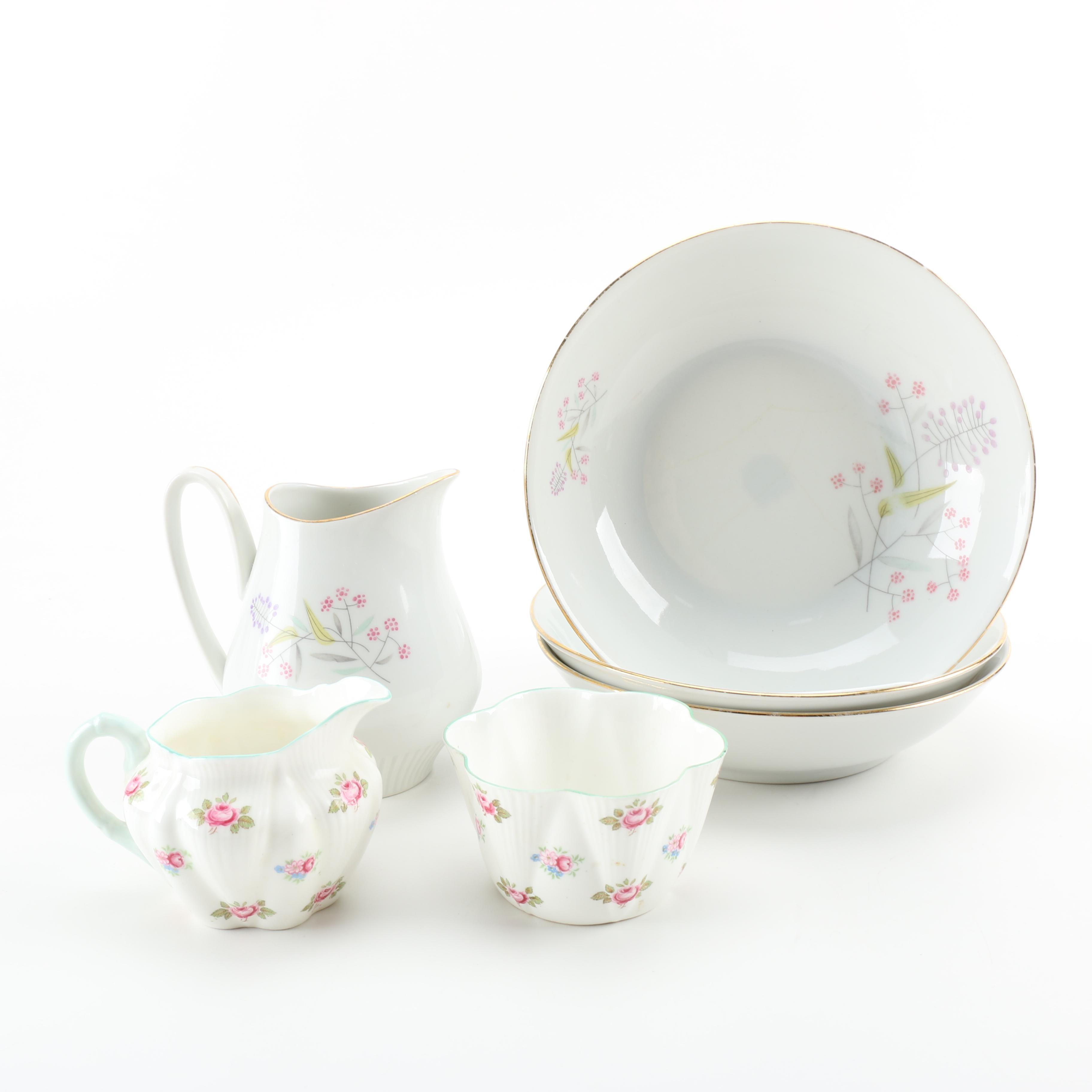 """Shelley """"Rosebud"""" Sugar and Creamer and Bavarian Bowls and Creamer"""