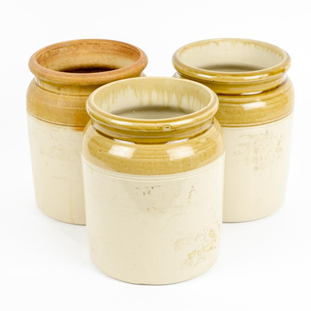 Three French Provencal Conserve Pots