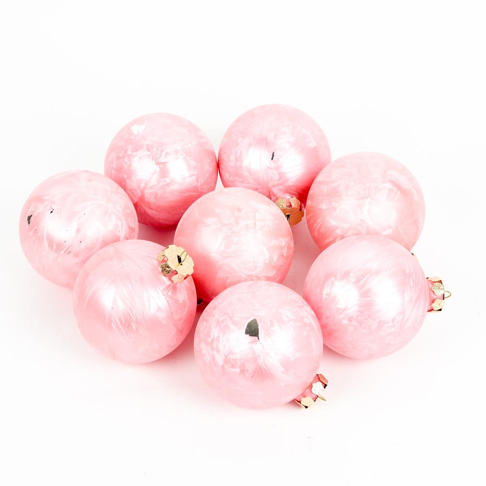 Vintage Pink Painted Glass Ornaments