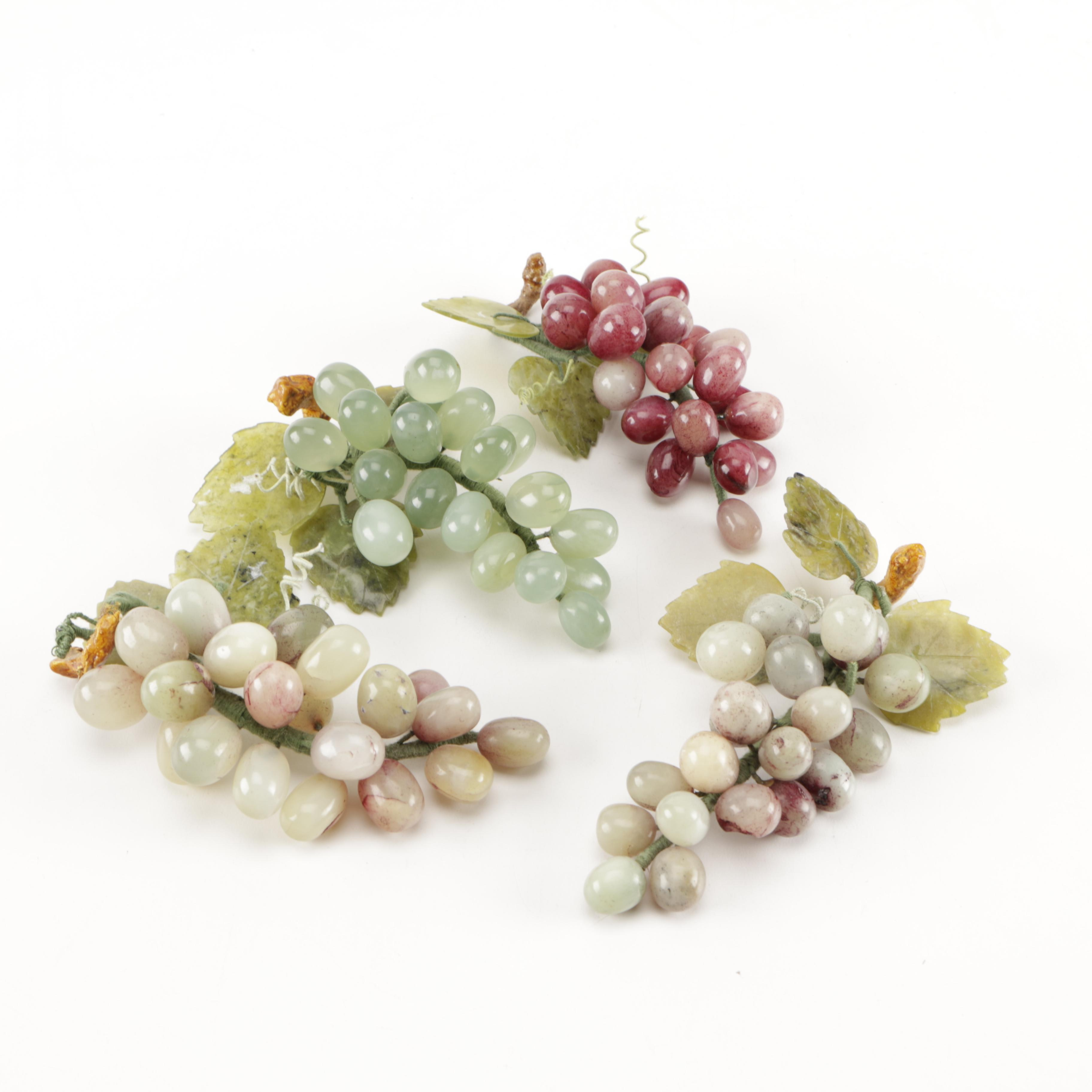 Agate and Soapstone Grape Clusters