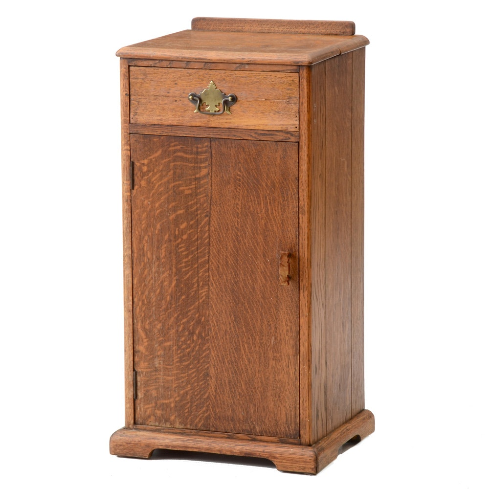 Antique Oak Pedestal Cabinet