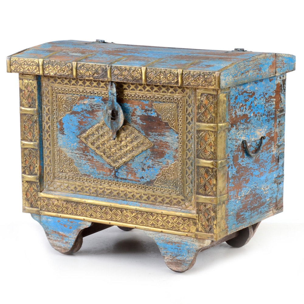 Rolling Blue Painted Wood Trunk