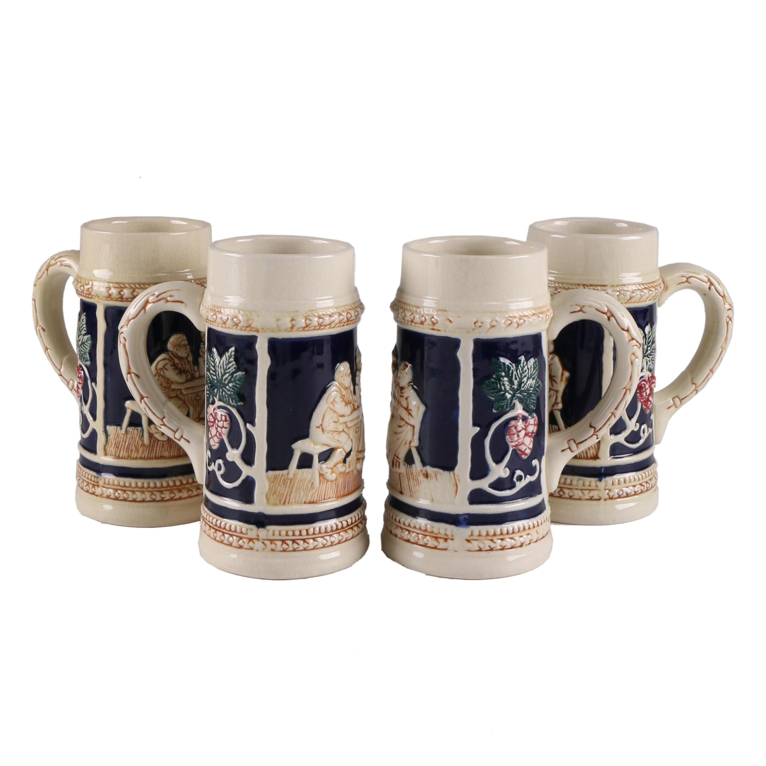 Vintage Japanese Ceramic German Inspired Beer Steins