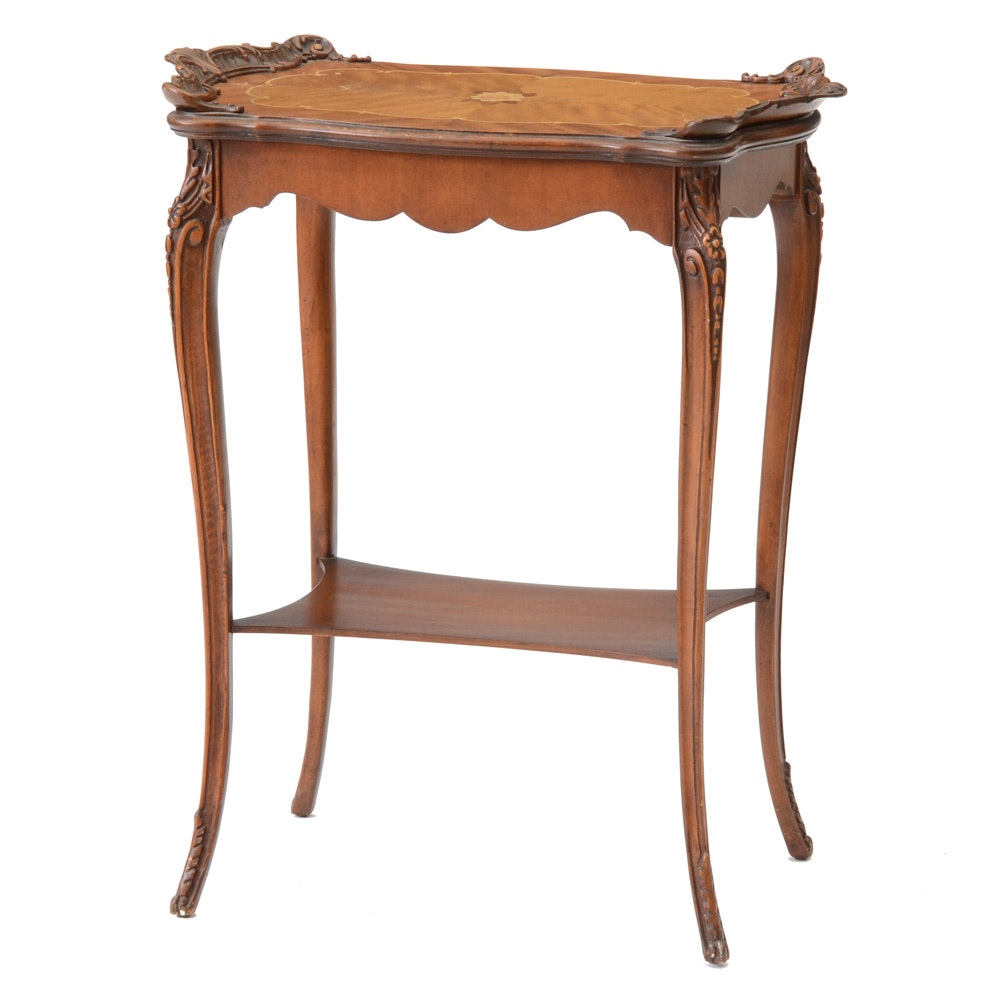 French Style Inlaid Wood Accent Table