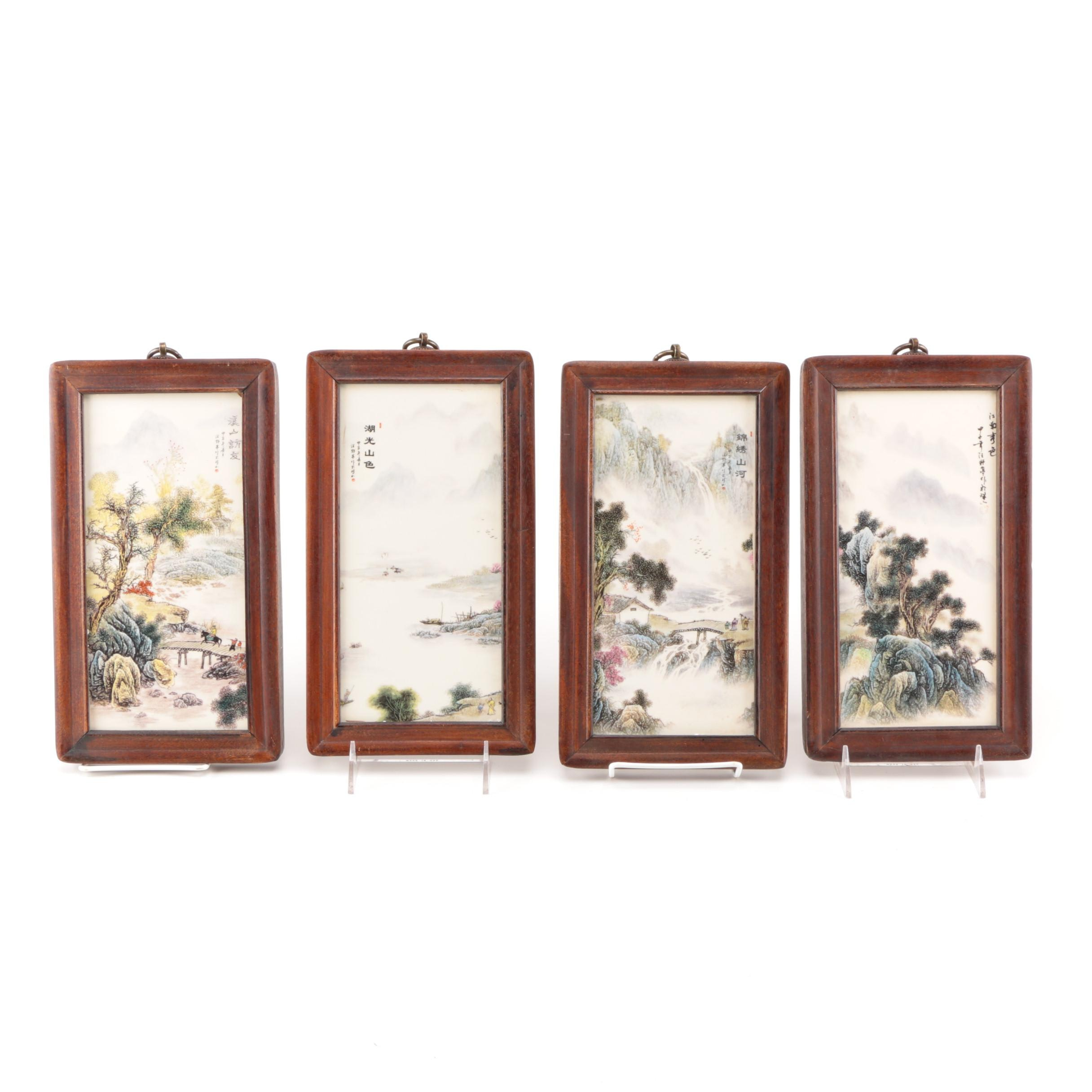 Framed Chinese Ceramic Tiles After Wang Yeting