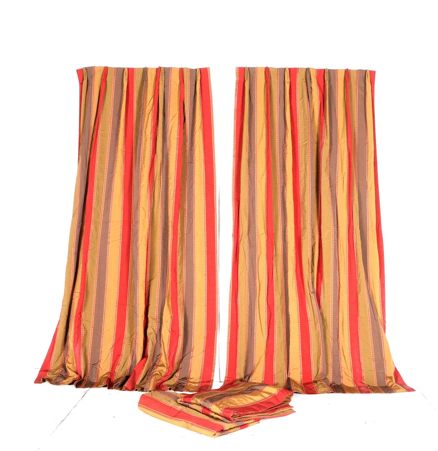 Set Of Four Red Yellow Brown And Green Striped Curtains