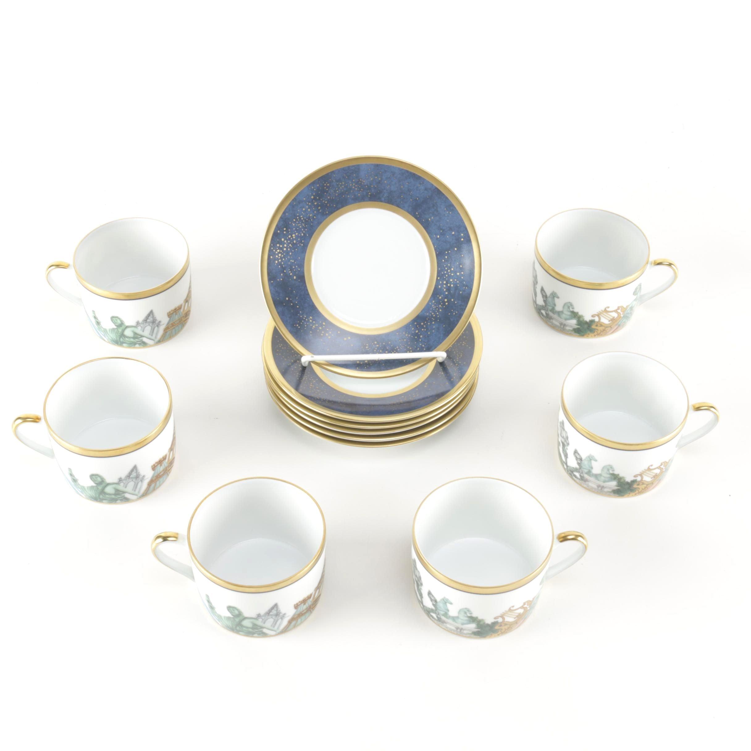 Bernaudaud by Limoges Tea Cups and Saucers