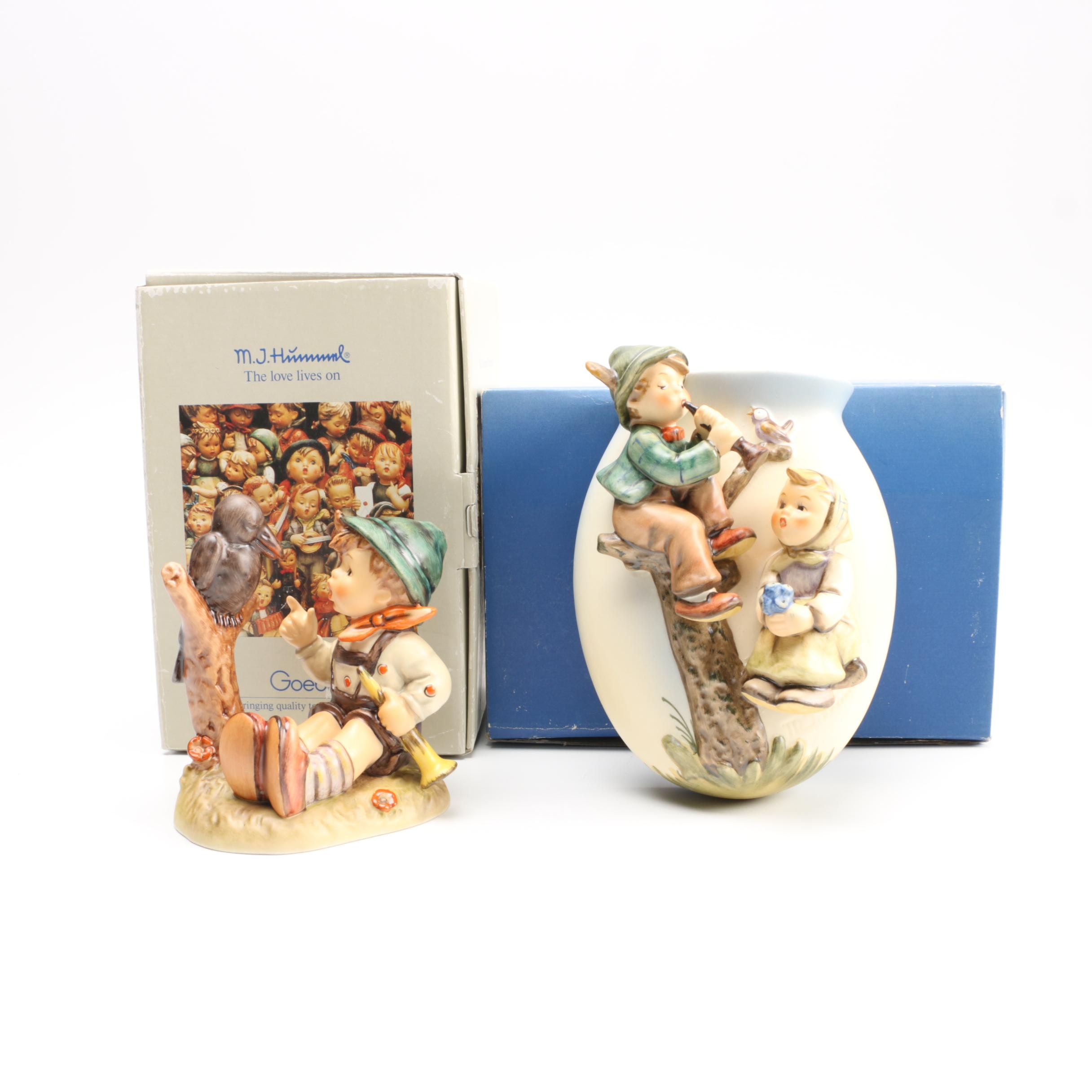 """Hummel """"Sing Along"""" Figurine and """"Boy and Girl"""" Wall Vase"""