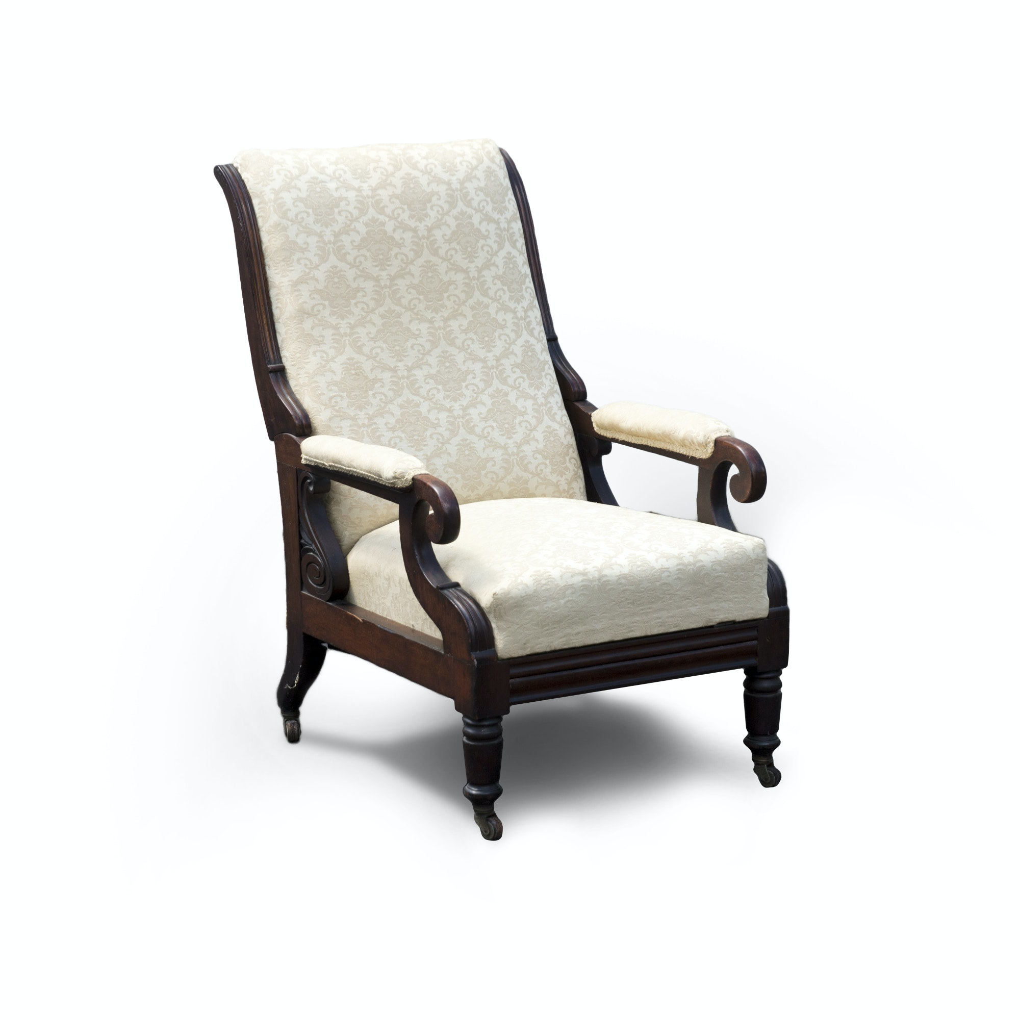 Victorian Style Armchair With Built-In Footrest