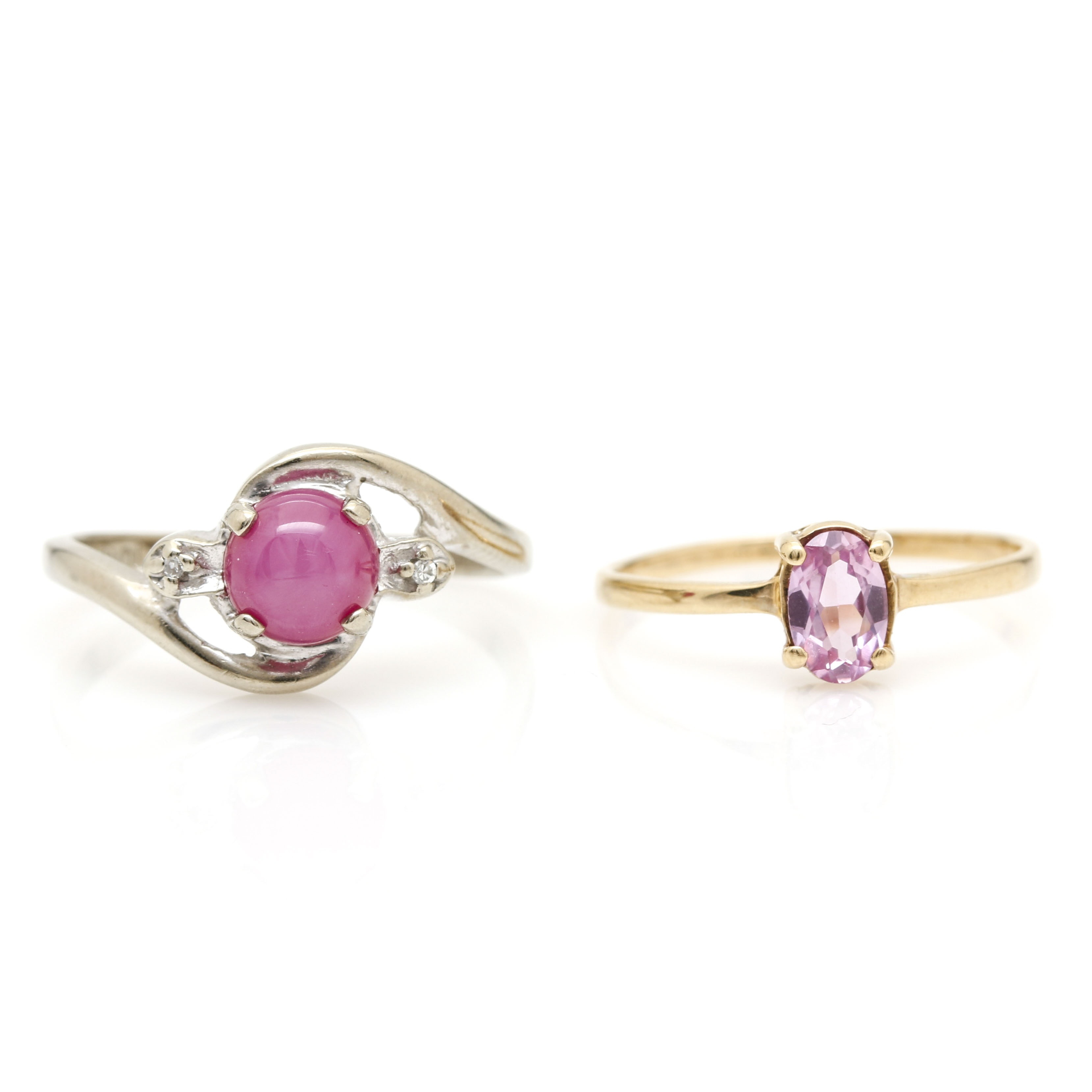 10K Yellow Gold Pink Sapphire Ring and 10K White Gold Star Ruby and Diamond Ring
