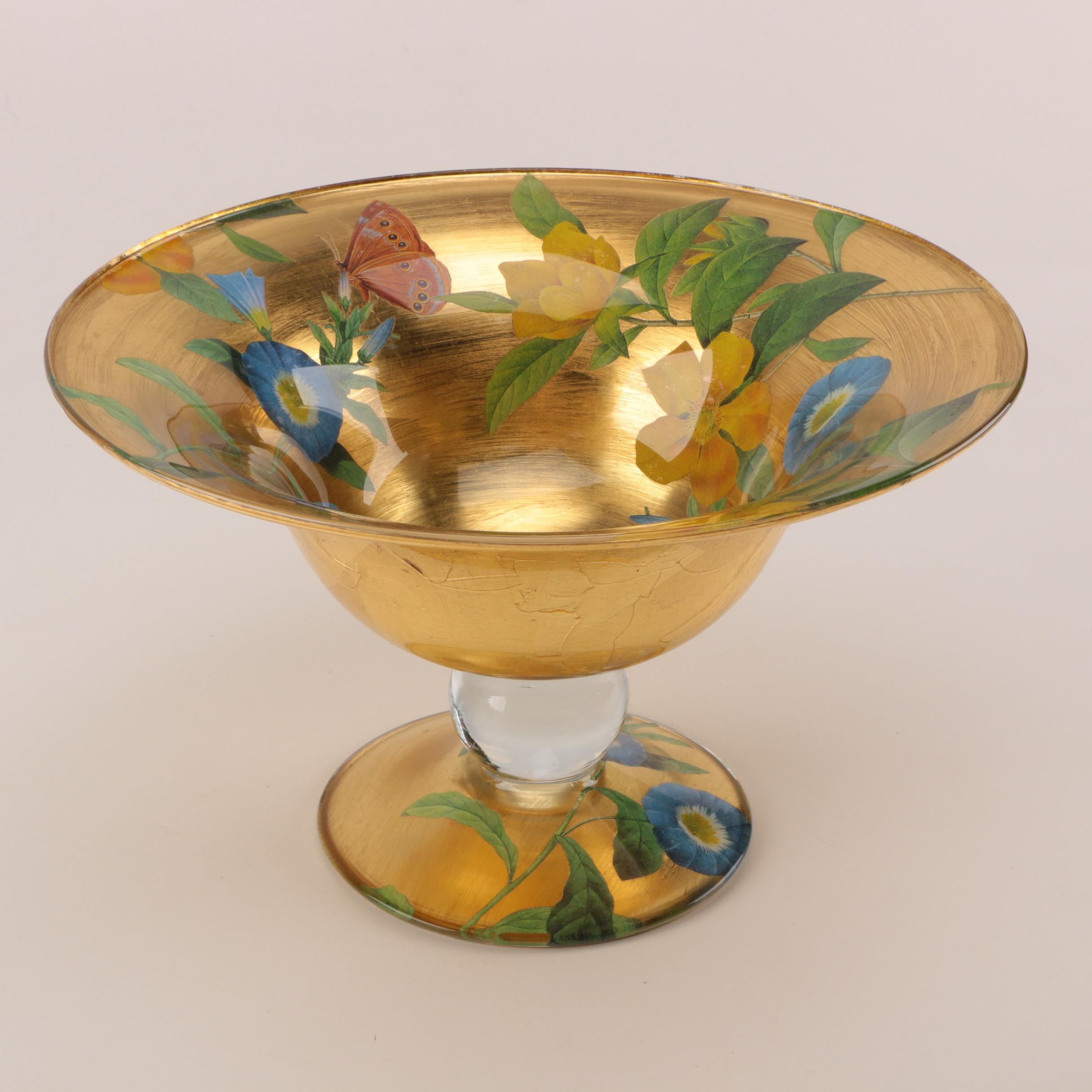 Signed Hand-Embellished Gold Tone Floral Footed Bowl