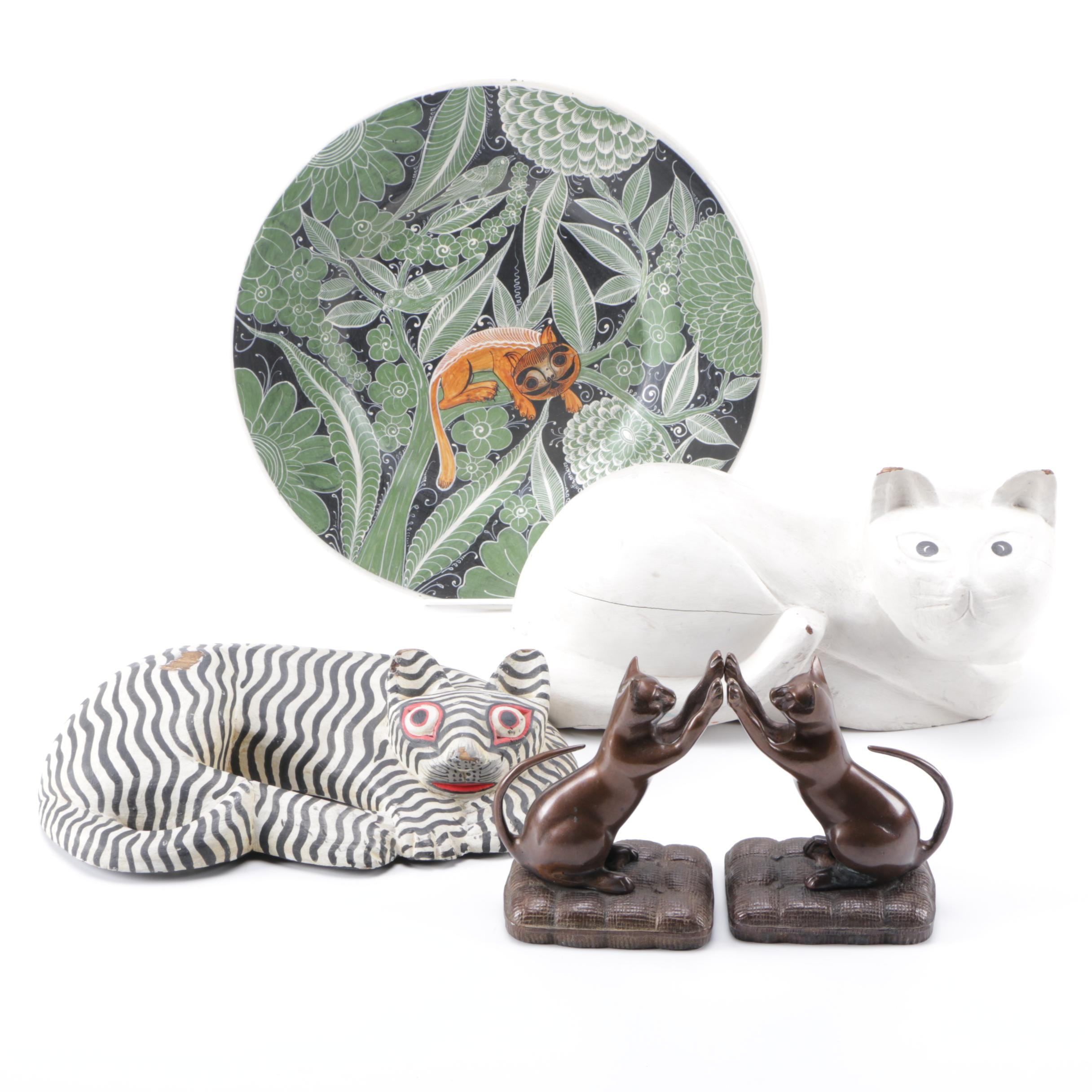 Cat Themed Décor Including Indonesian Carving