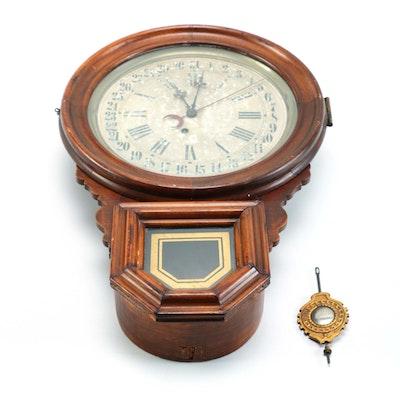 Vintage Waltham Regulator 31 Day Chime Wall Clock Ebth