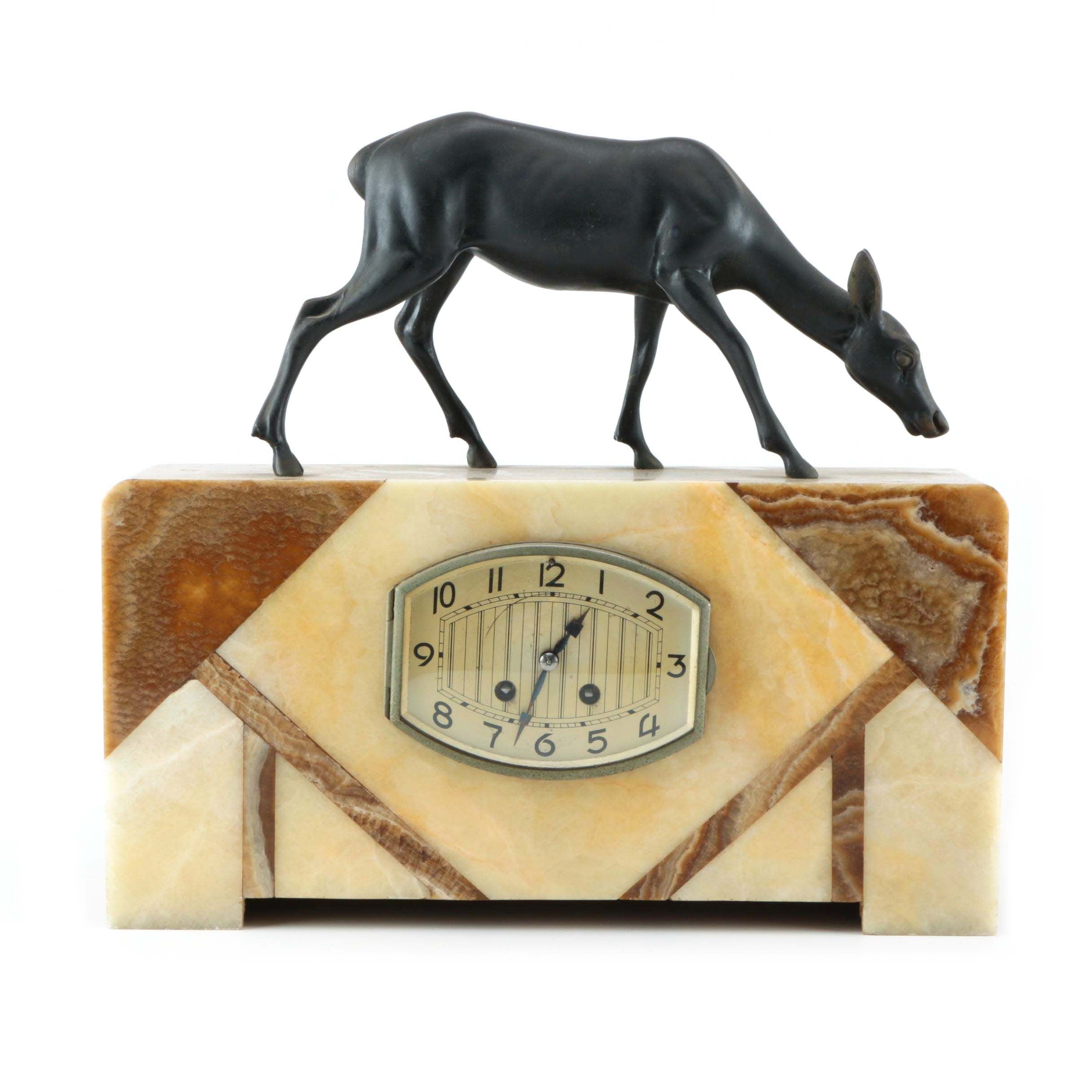 Brass Deer Statue on Marble Housed Clock