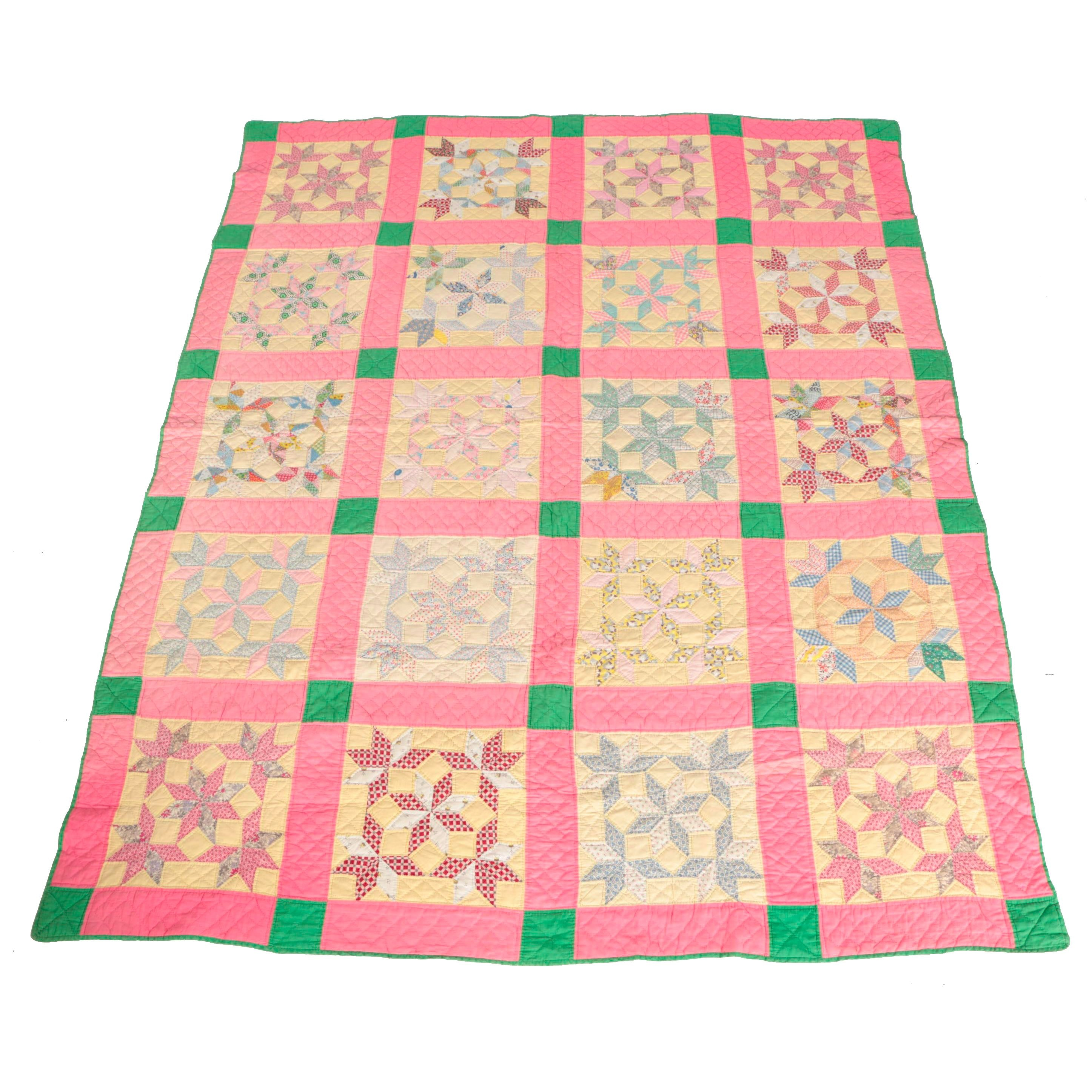 Ruth Tepe Mid-Century Handmade Block Quilt With Variable Star Pattern