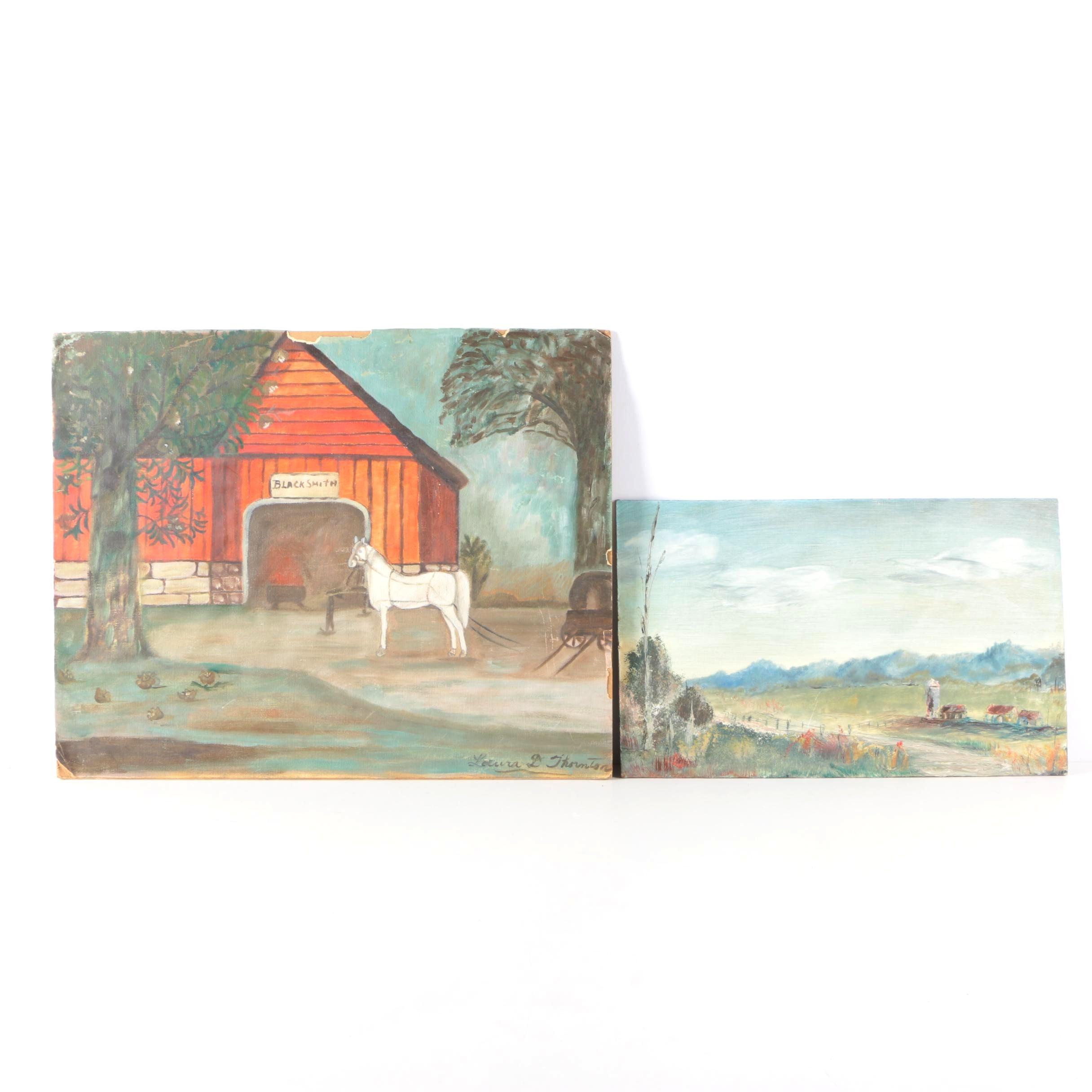 """Laura D. Thornton Oil on Board """"Primitive"""" and Oil on Masonite Landscape"""