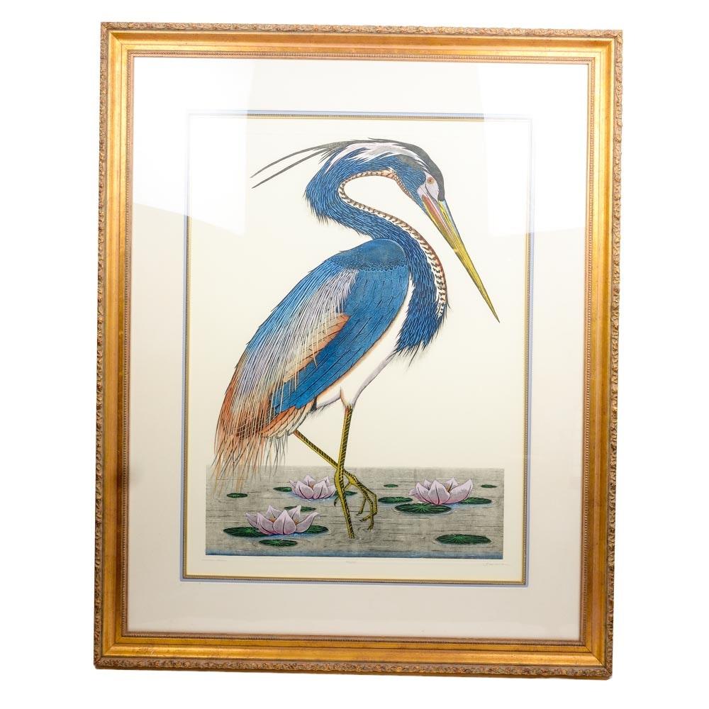 "Dan Mitra Limited Edition Etching ""Louisiana Heron"""
