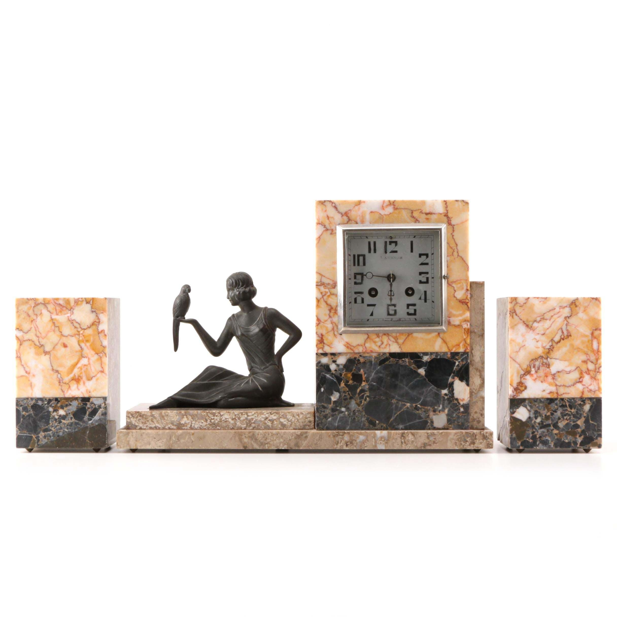 Art Deco Marble Desk Clock with Stauette and a pair of Bookends