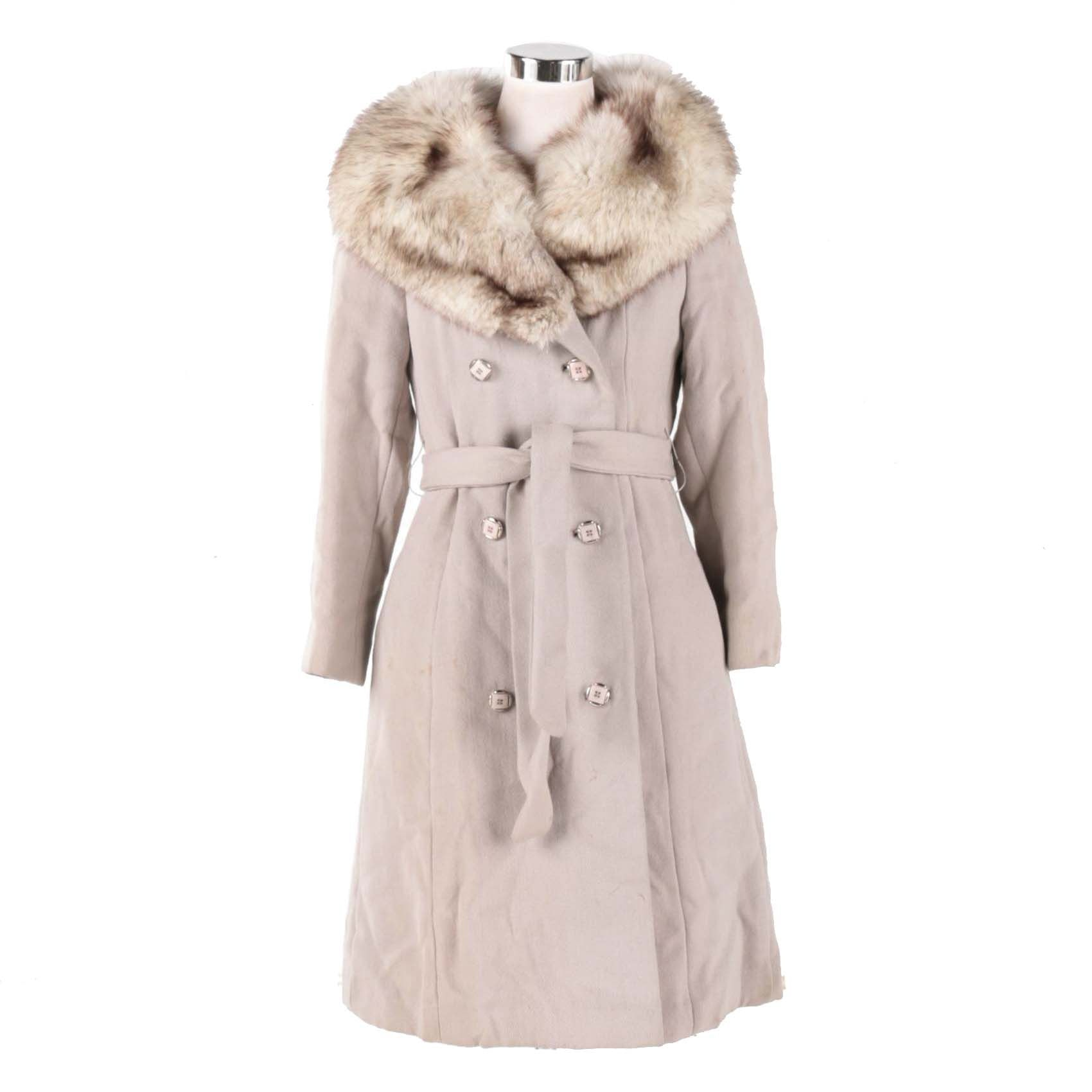 Vintage Double Breasted Coat with Fox Fur Collar