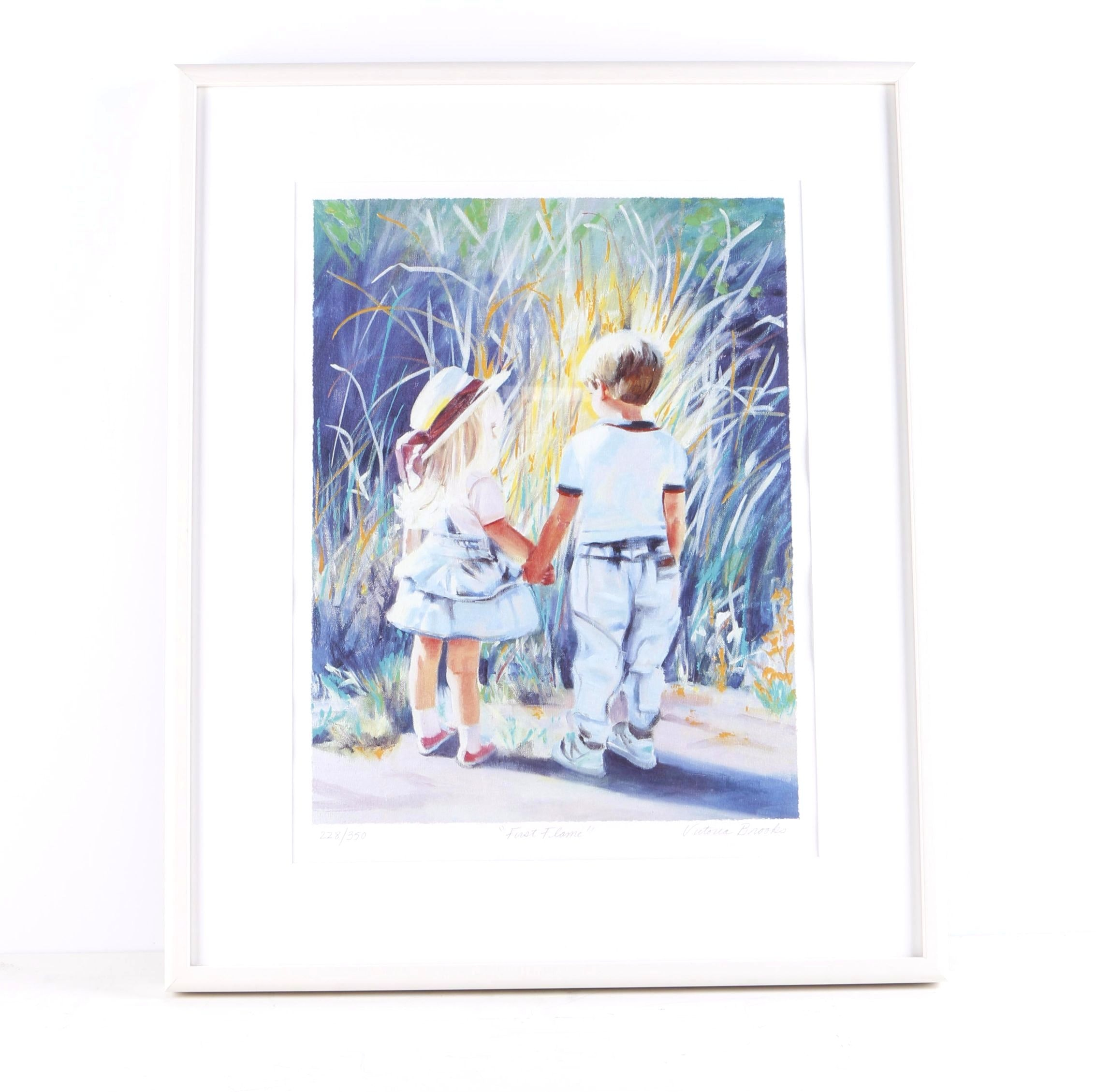 """Victoria Brooks Limited Edition Lithograph on Paper """"First Flame"""""""