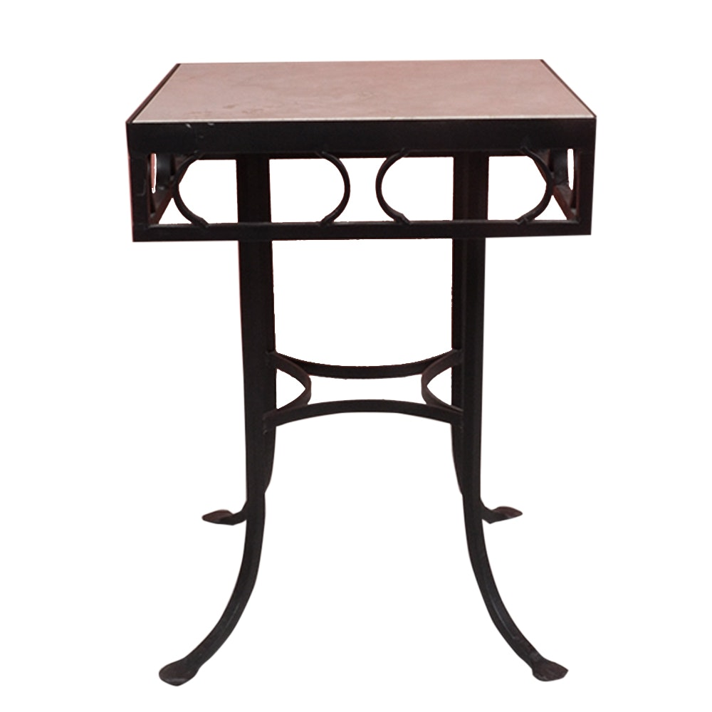 Vintage Wrought Iron Table With Marble Top