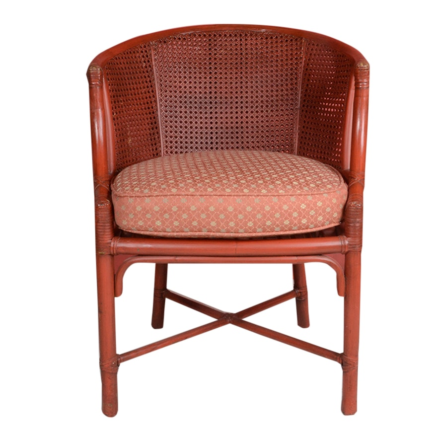 Cane And Bamboo Barrel Back Chair With Cushion
