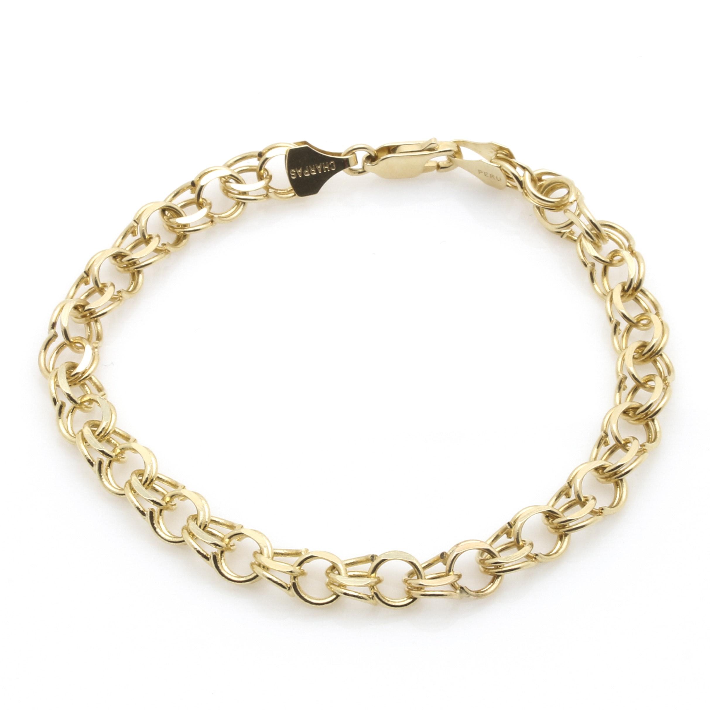 14K Yellow Gold Fancy Cable Link Bracelet