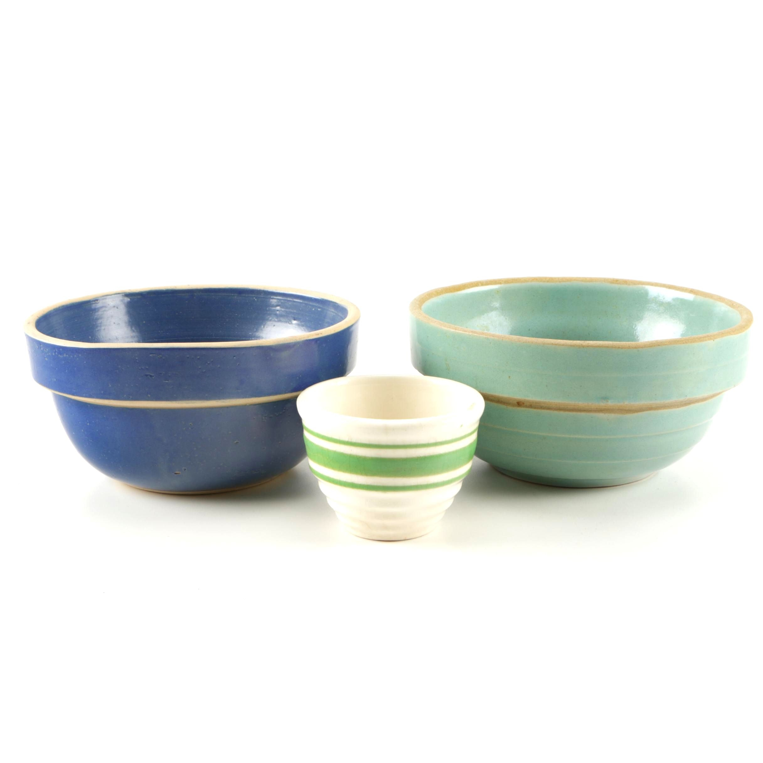 Vintage Stoneware Kitchen Bowls Including Clay City Pottery ...