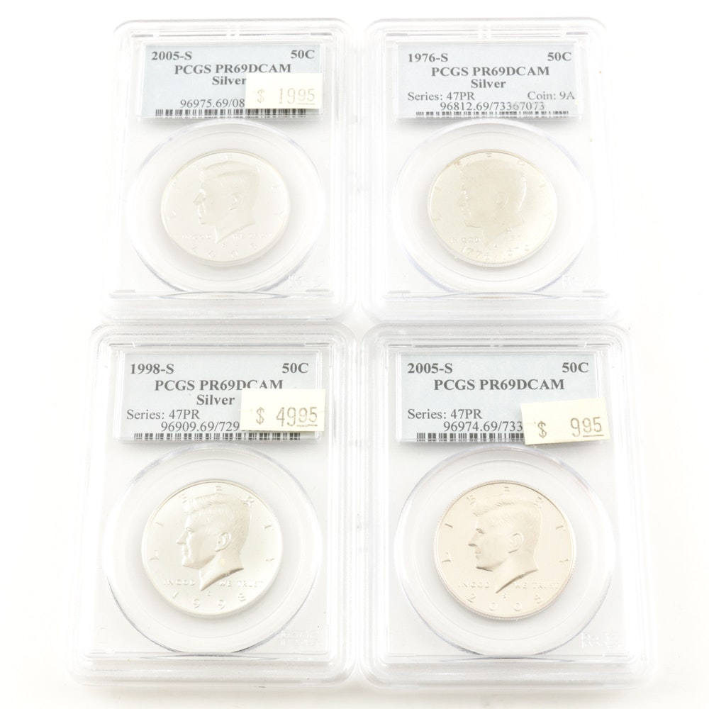 Group of (4) Encapsulated and Graded PR69 DCAM (By PCGS) Kennedy Proof Half Dollars