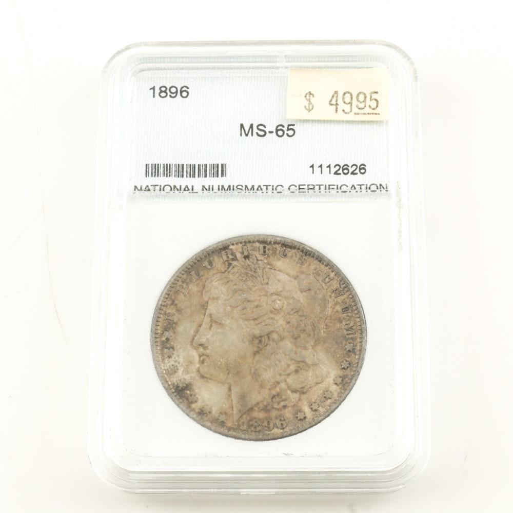 Encapsulated 1896 Morgan Silver Dollar