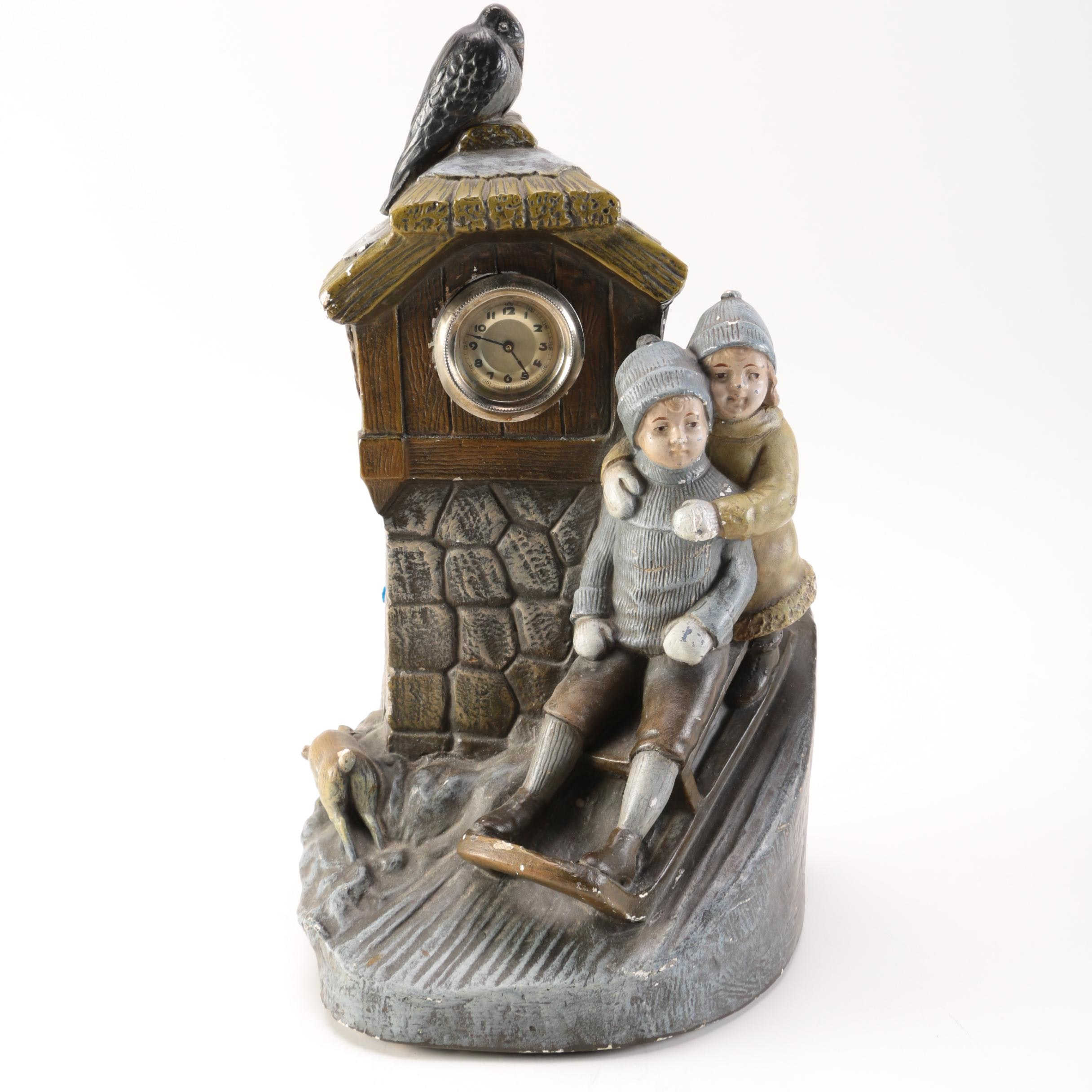 Ceramic Winter Scene Clock