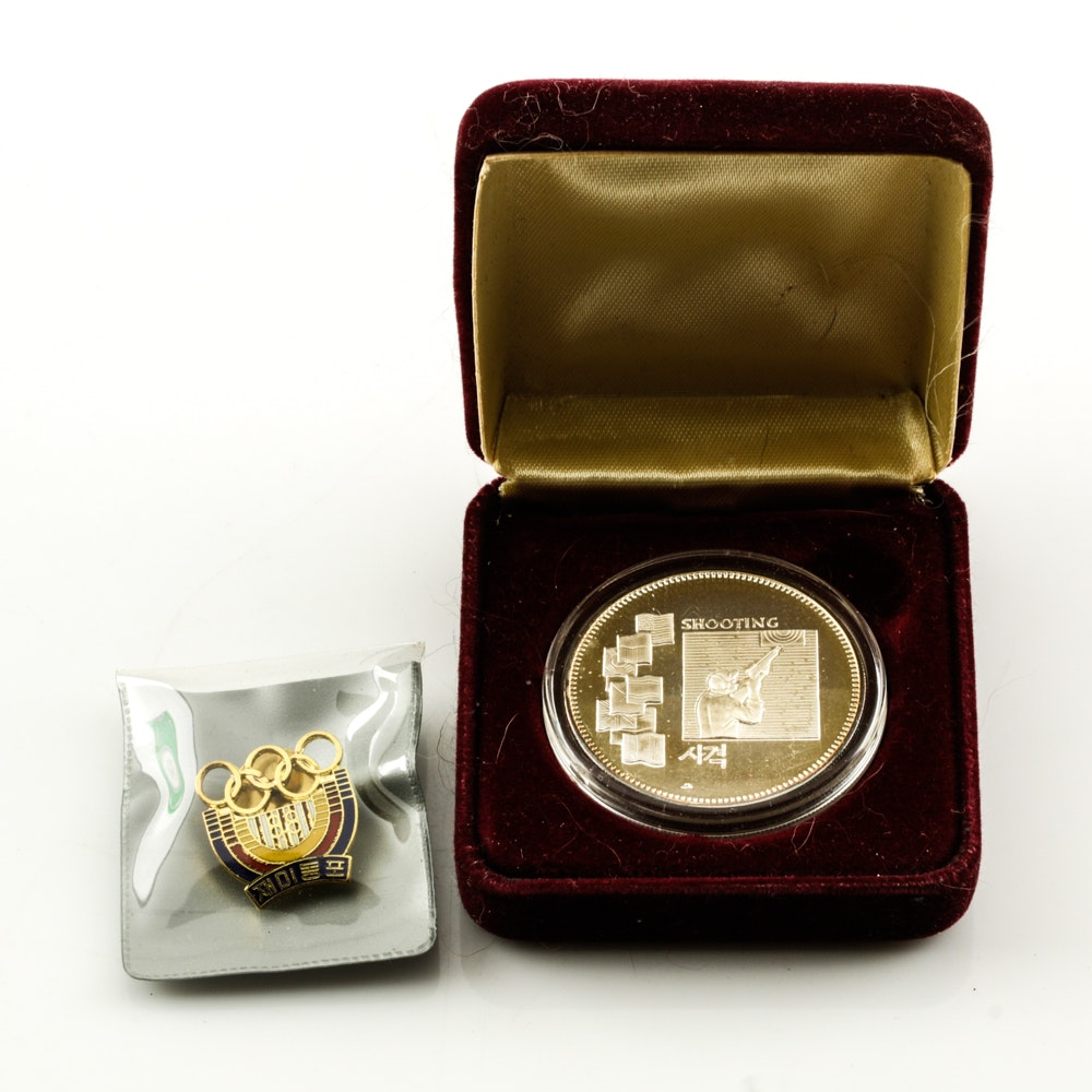 Commemorative 1988 Olympics Silver Round and Pin
