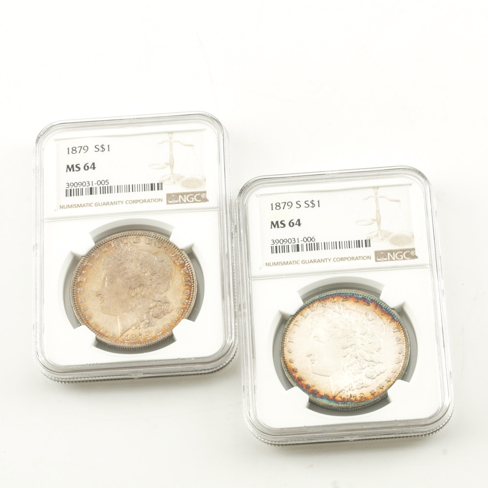 MS 64 Graded (By NGC) 1879 and 1879-S Morgan Dollar