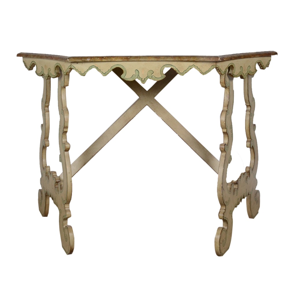 Italian Style Faux Marble Painted Console Table